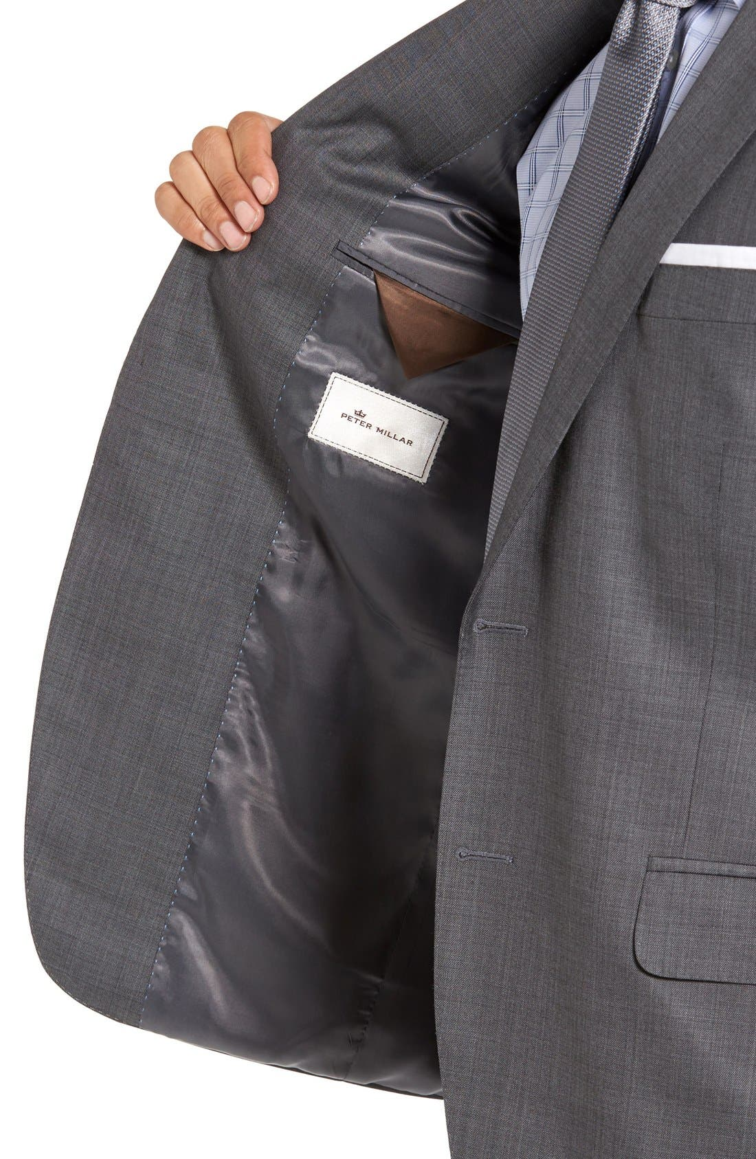 Classic Fit Solid Wool Suit,                             Alternate thumbnail 6, color,                             CHARCOAL