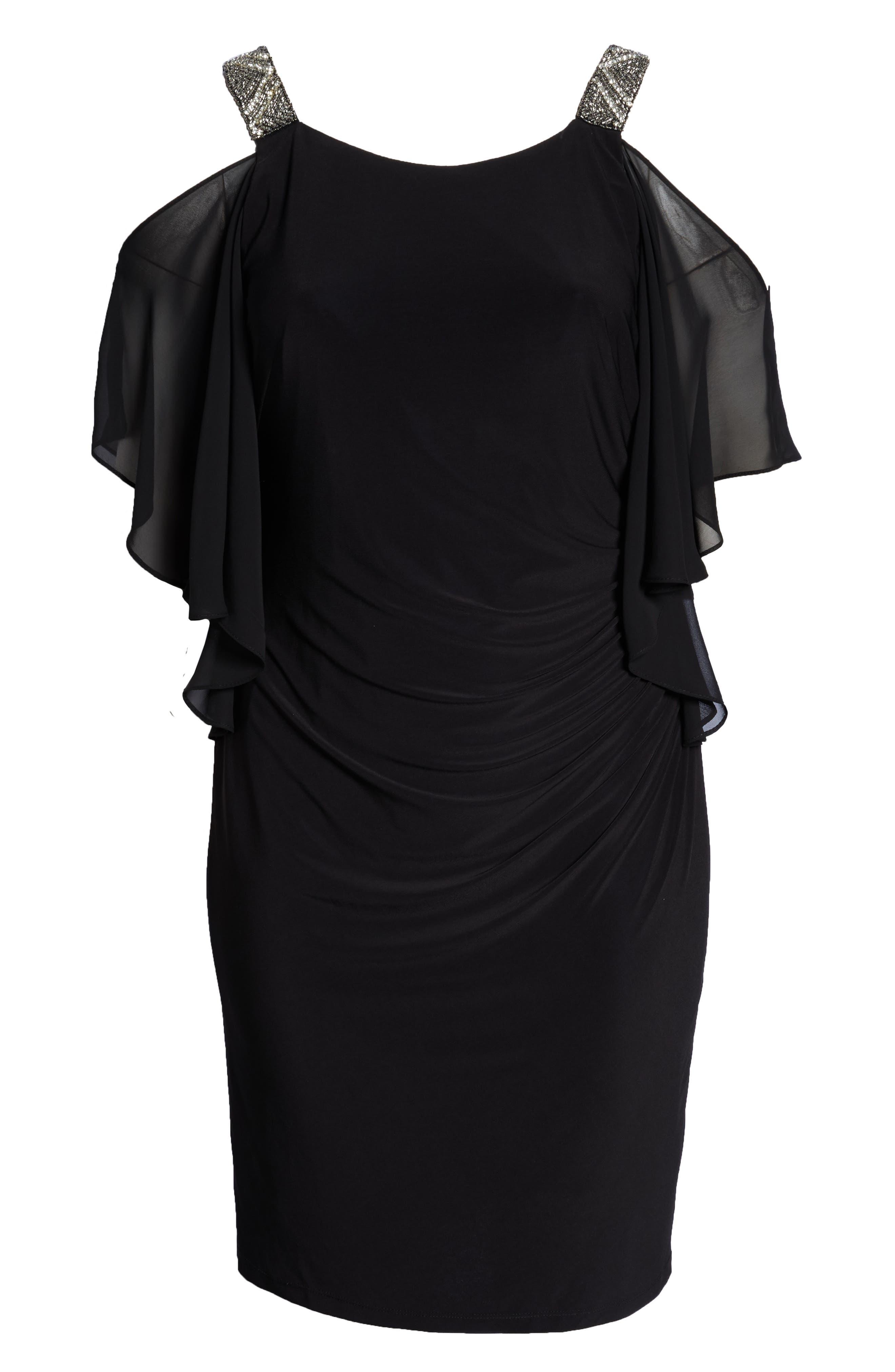 Cold Shoulder Sparkle Dress,                             Alternate thumbnail 7, color,                             BLACK/ SILVER