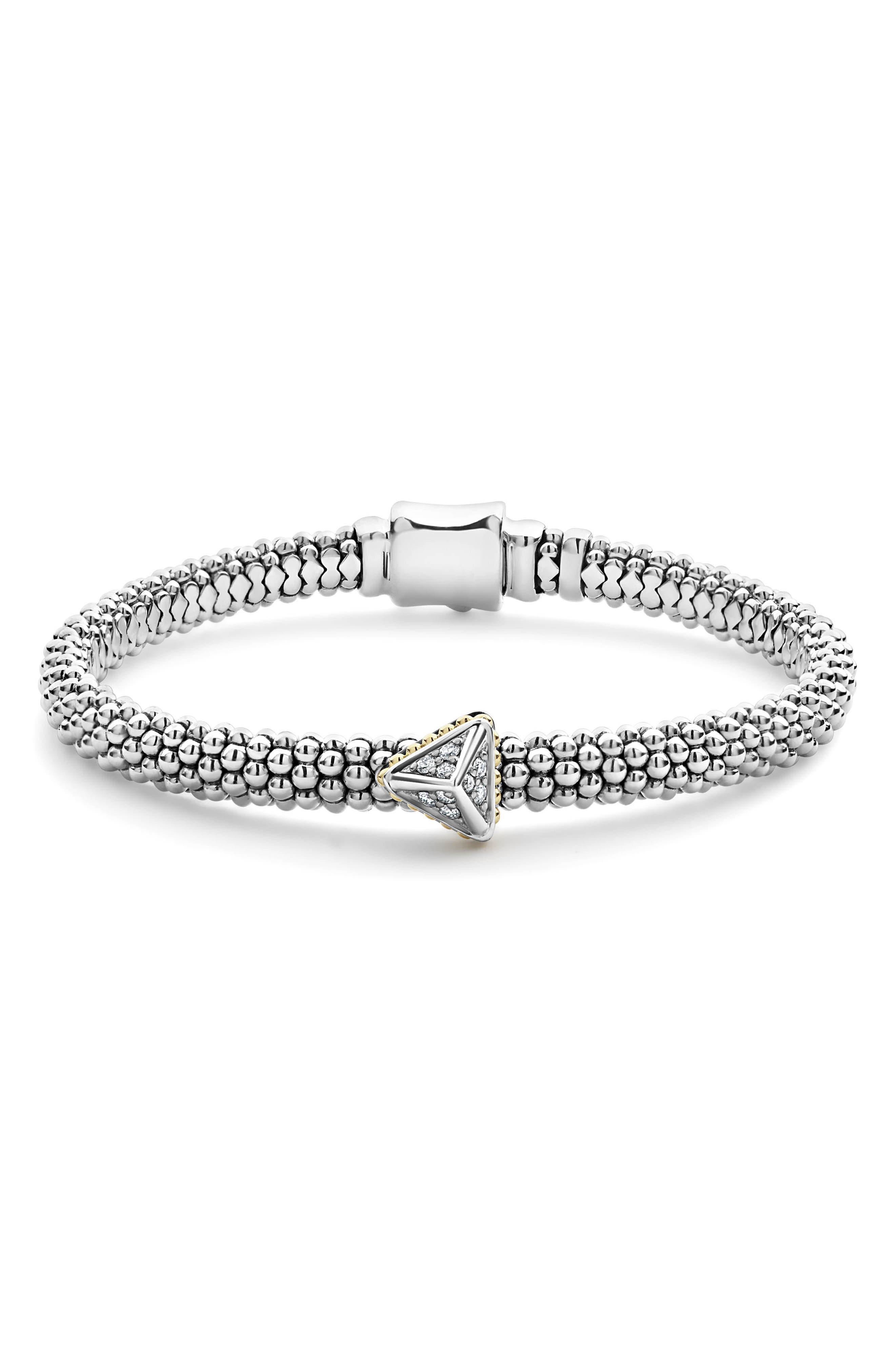 Ksl Caviar Rope Bracelet W/ Pyramid in Silver/ Diamond