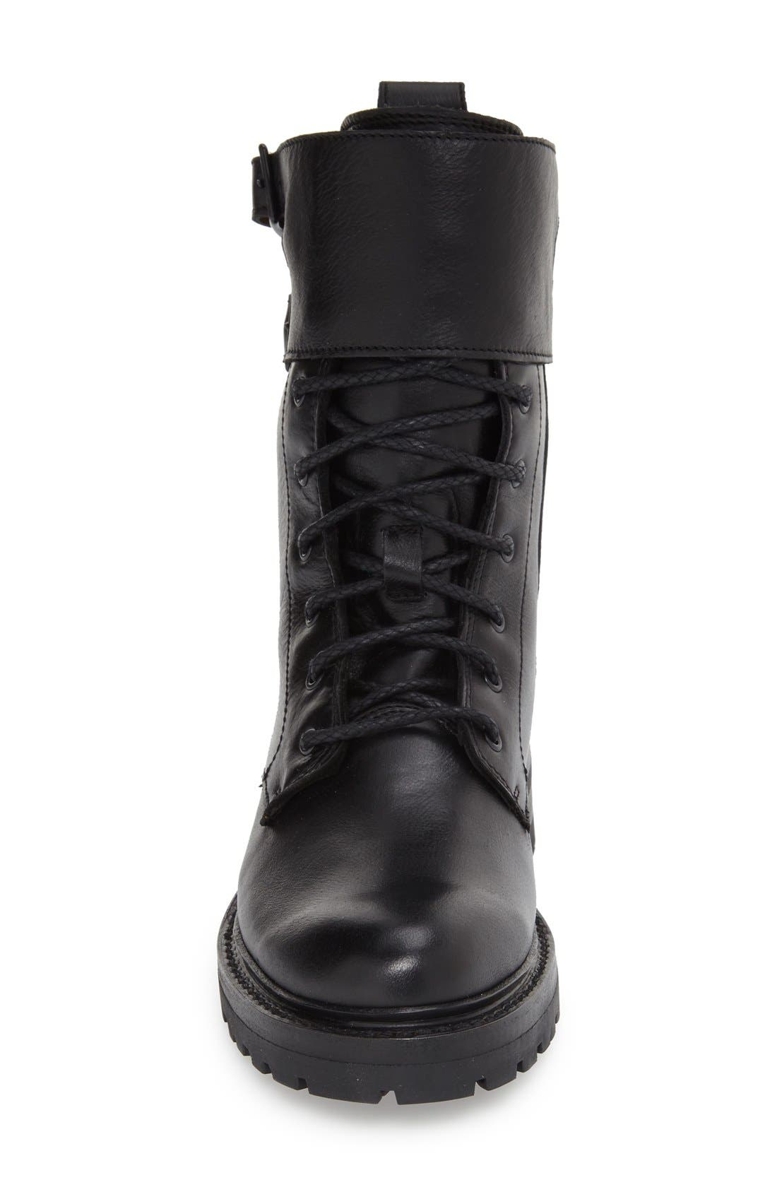'Julie' Shield Combat Boot,                             Alternate thumbnail 3, color,                             001