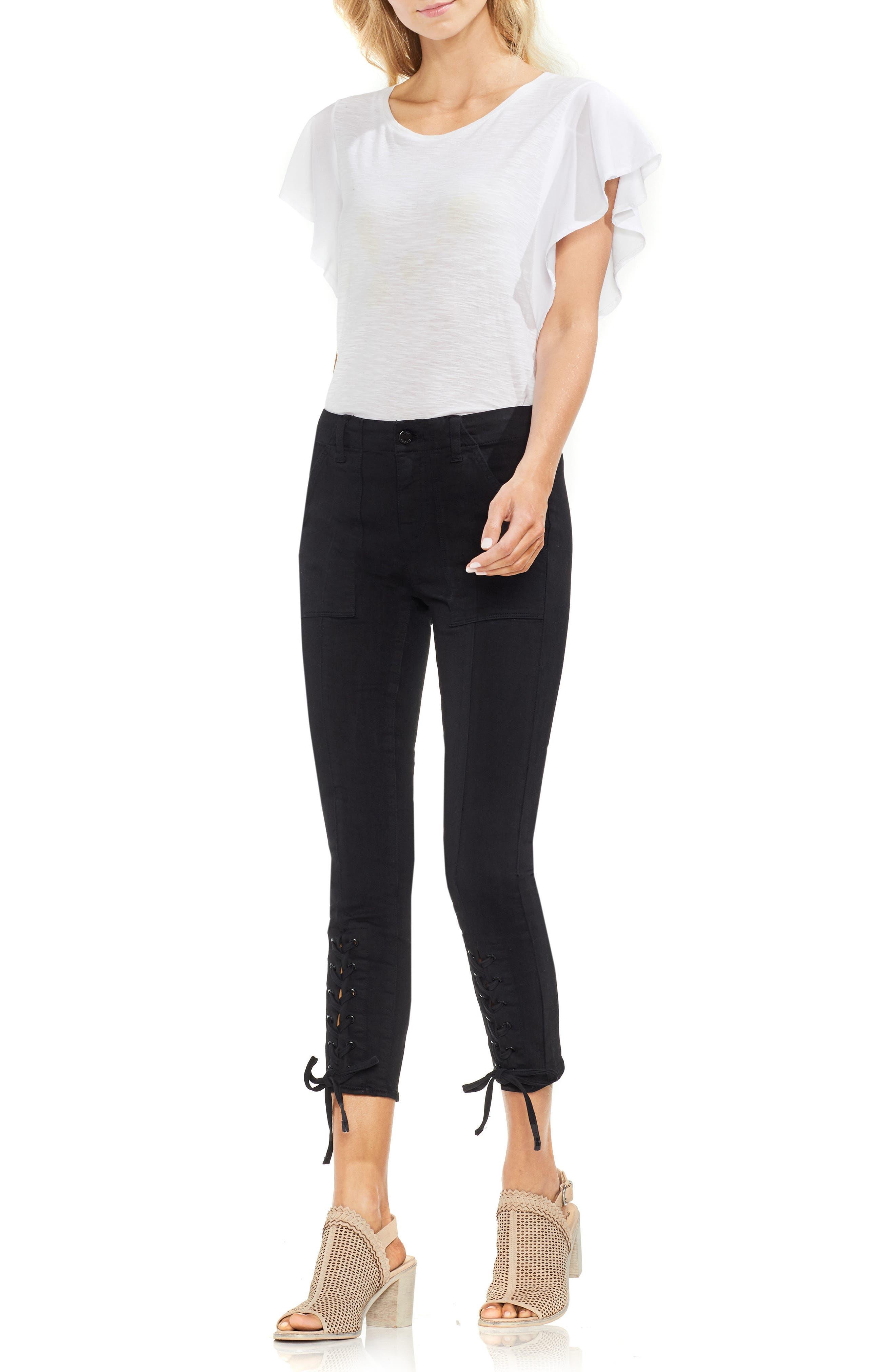 Lace-Up Cuff D-Luxe Pants,                             Alternate thumbnail 3, color,                             RICH BLACK