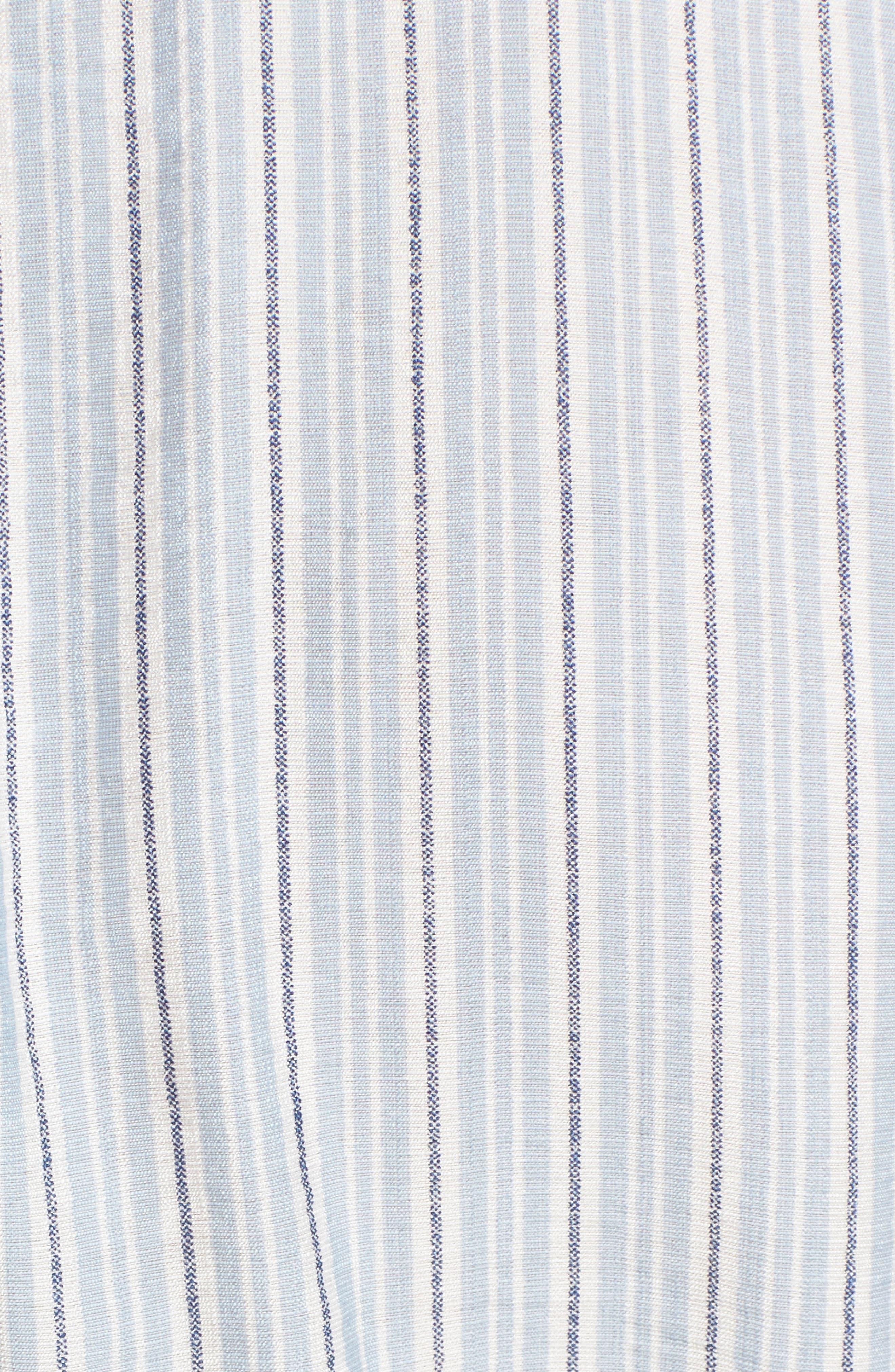 Stripe Ruffle Wrap Dress,                             Alternate thumbnail 5, color,                             400