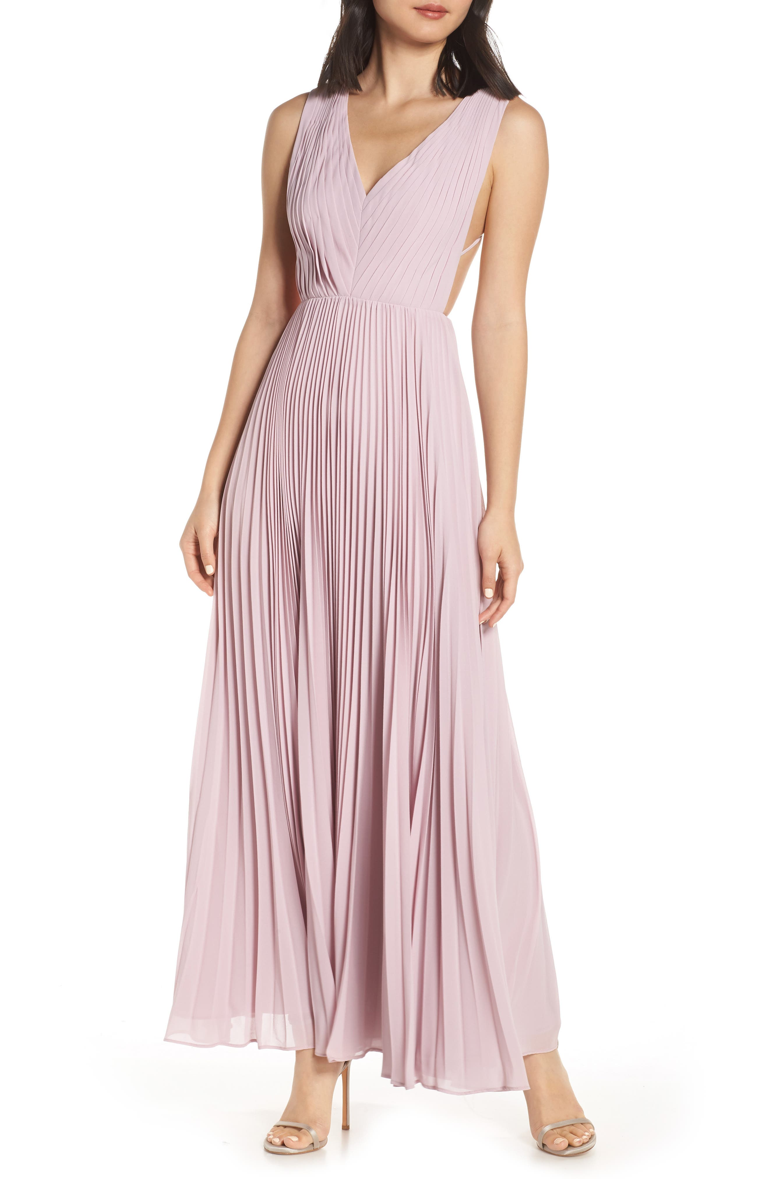 Fame And Partners Strappy Back Pleated Chiffon Evening Dress, Purple