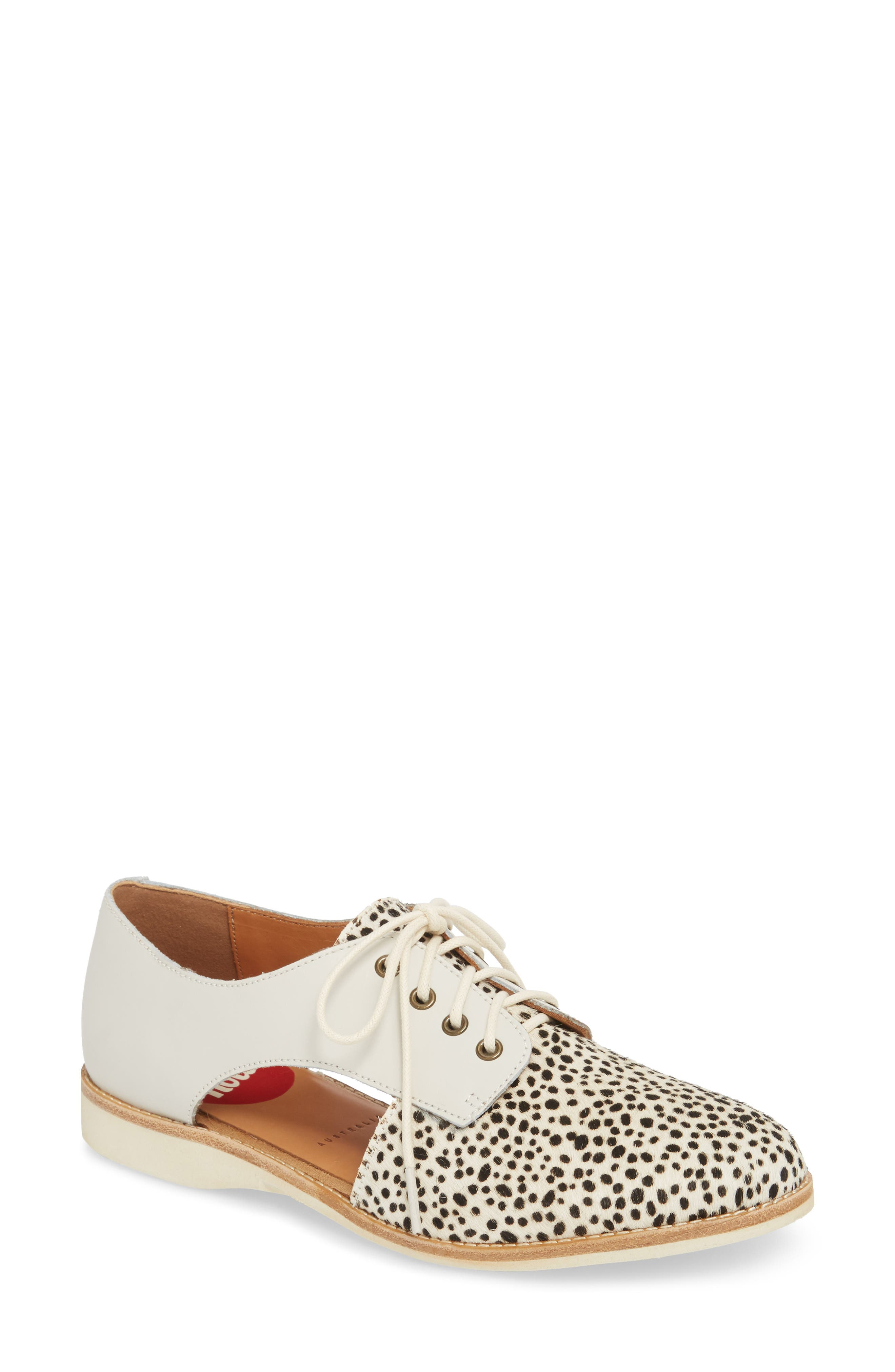 ROLLIE,                             Side Cut Derby,                             Main thumbnail 1, color,                             SNOW LEOPARD/ WHITE LEATHER