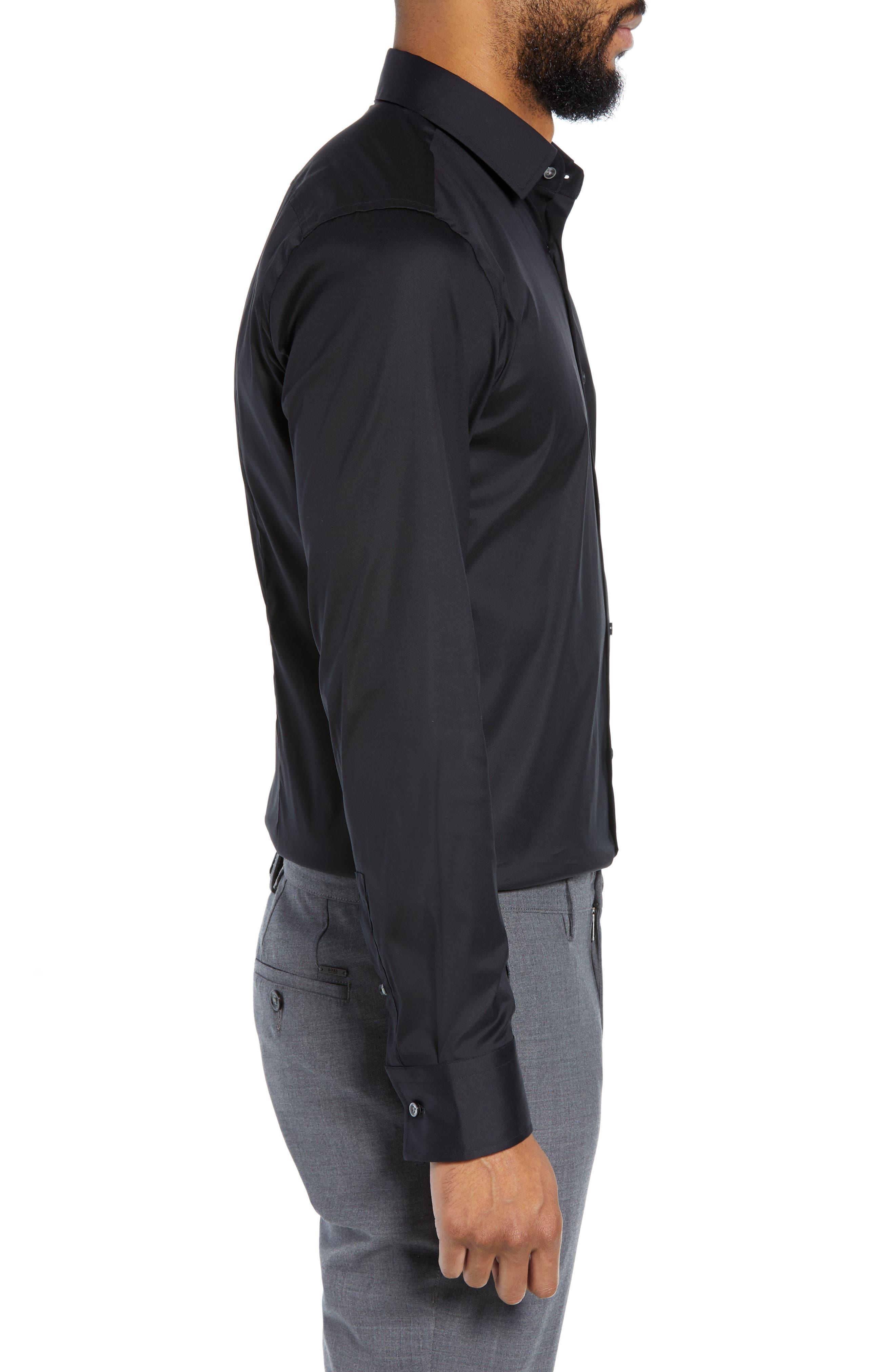 Jenno Slim Fit Stretch Solid Dress Shirt,                             Alternate thumbnail 4, color,                             BLACK