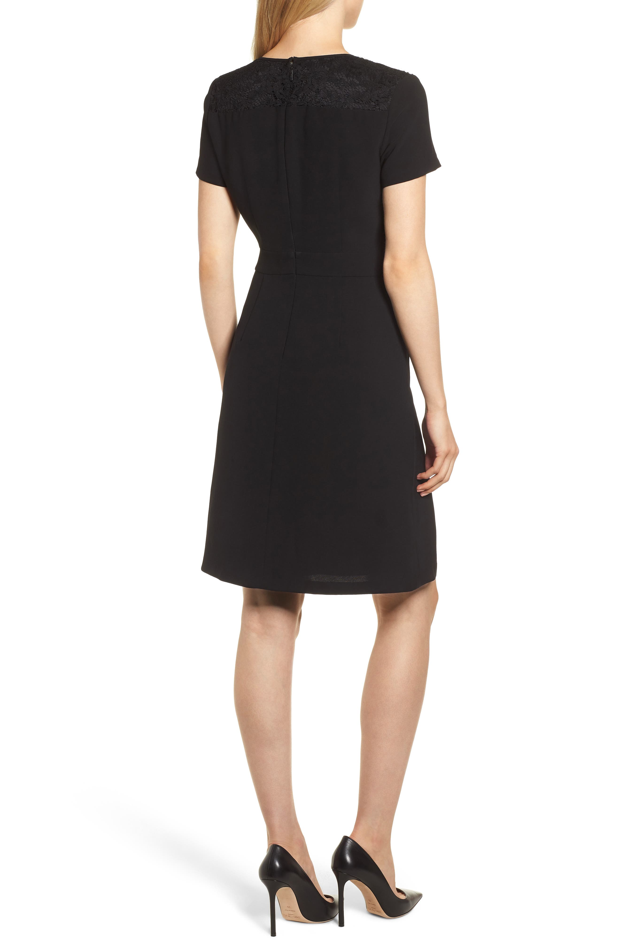 Lace Bib Sheath Dress,                             Alternate thumbnail 2, color,                             BLACK