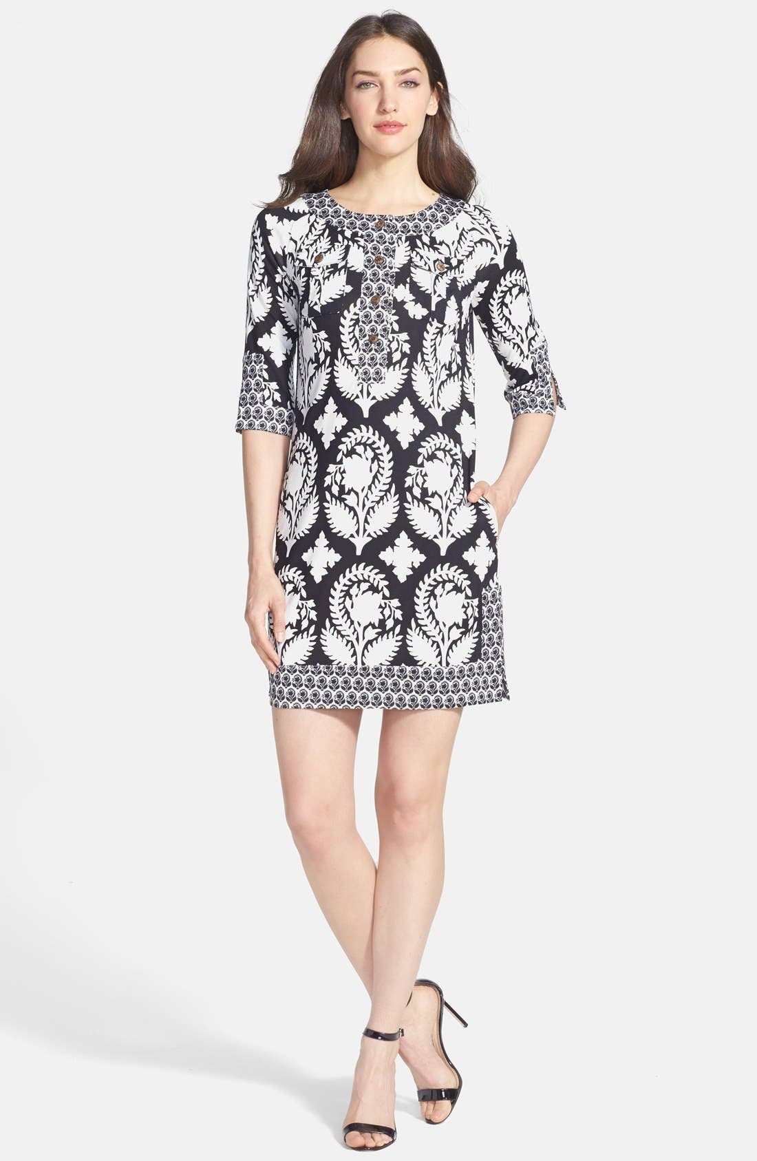 DIANE VON FURSTENBERG,                             'Eloise' Silk Knit Shift Dress,                             Main thumbnail 1, color,                             015
