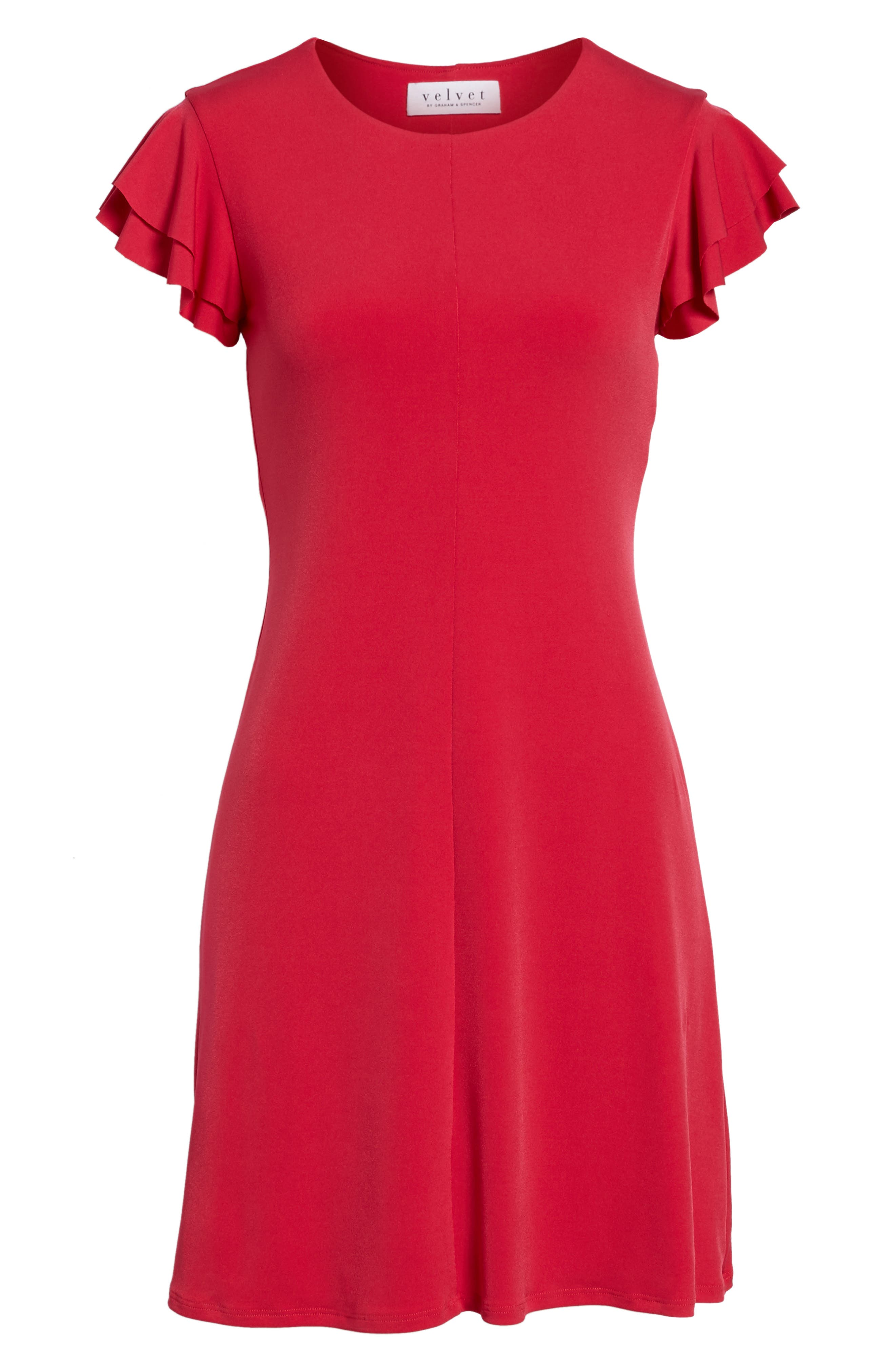 Flutter Sleeve Stretch Jersey Dress,                             Alternate thumbnail 6, color,