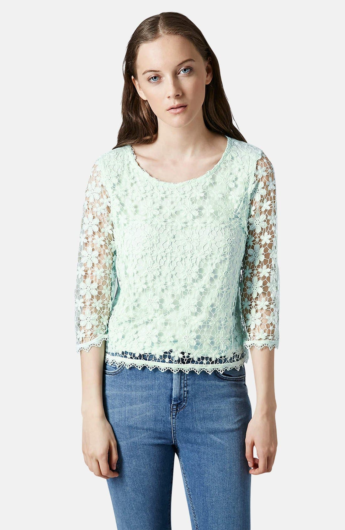 Crochet Lace Overlay Top,                             Alternate thumbnail 4, color,                             300