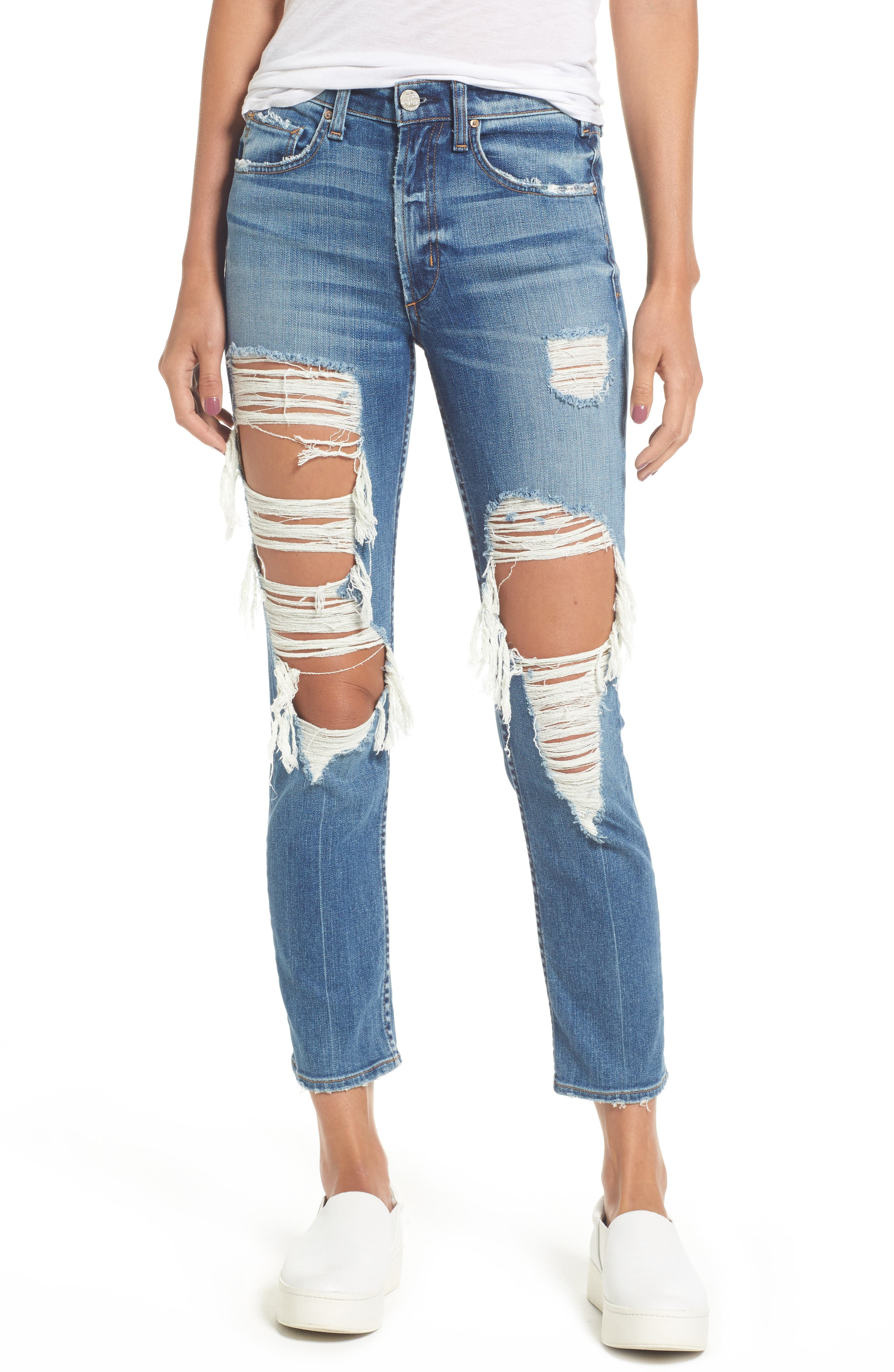 Windsor Destroyed High Waist Straight Leg Jeans,                             Main thumbnail 2, color,