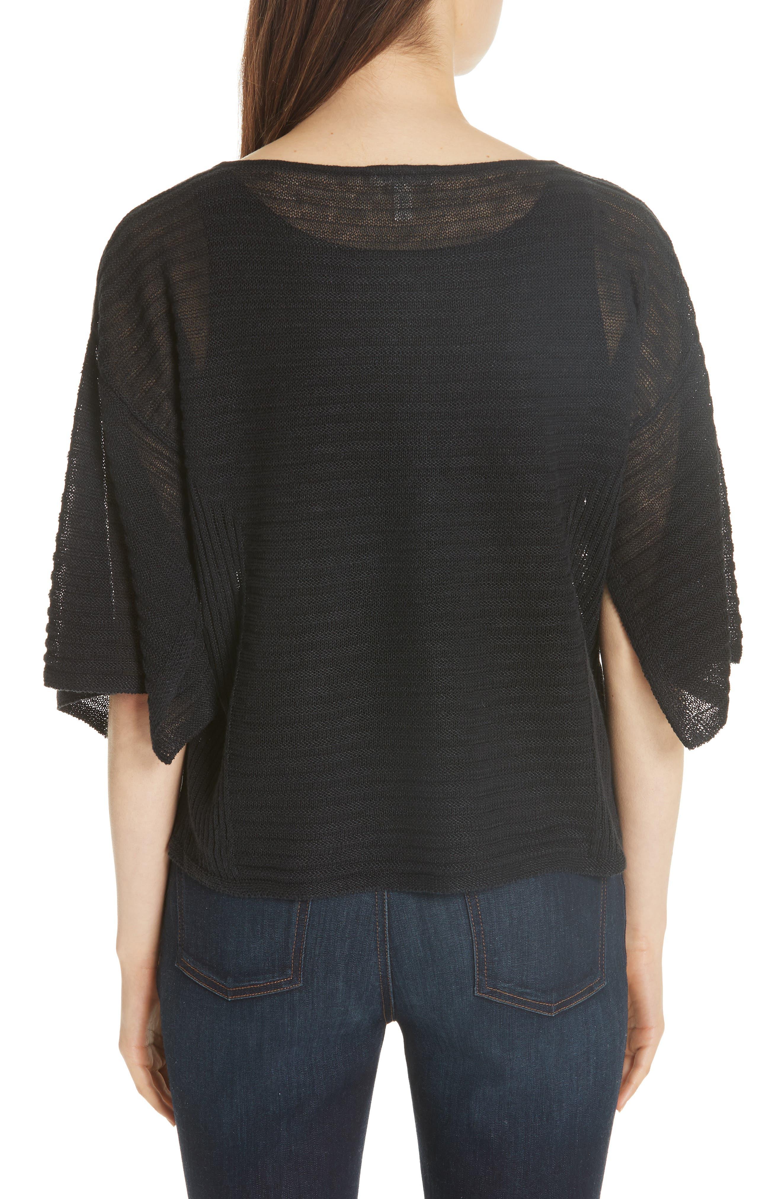 Slit Sleeve Organic Linen Sweater,                             Alternate thumbnail 2, color,                             001
