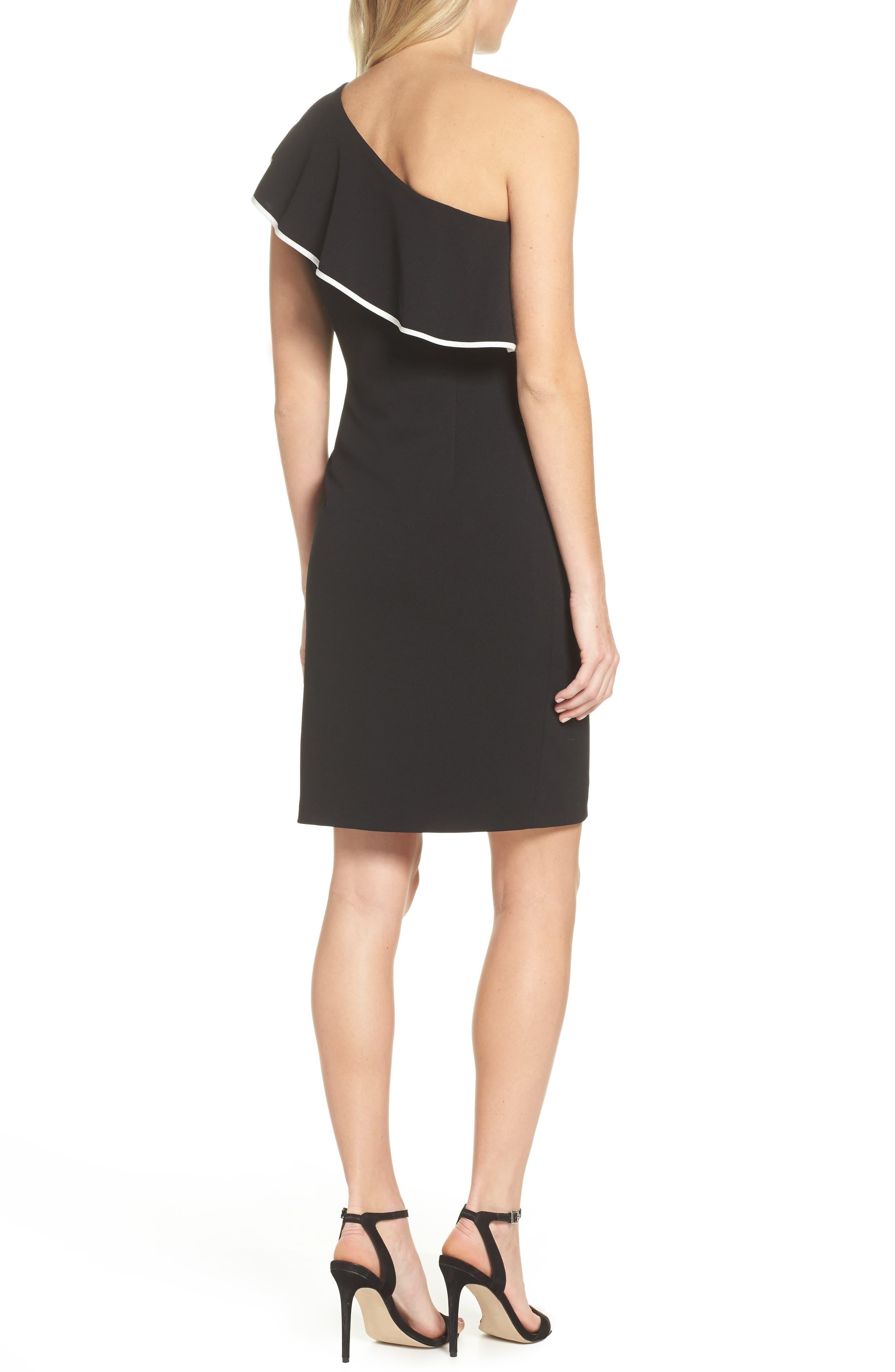 Crepe One-Shoulder Sheath Dress,                             Alternate thumbnail 2, color,                             019