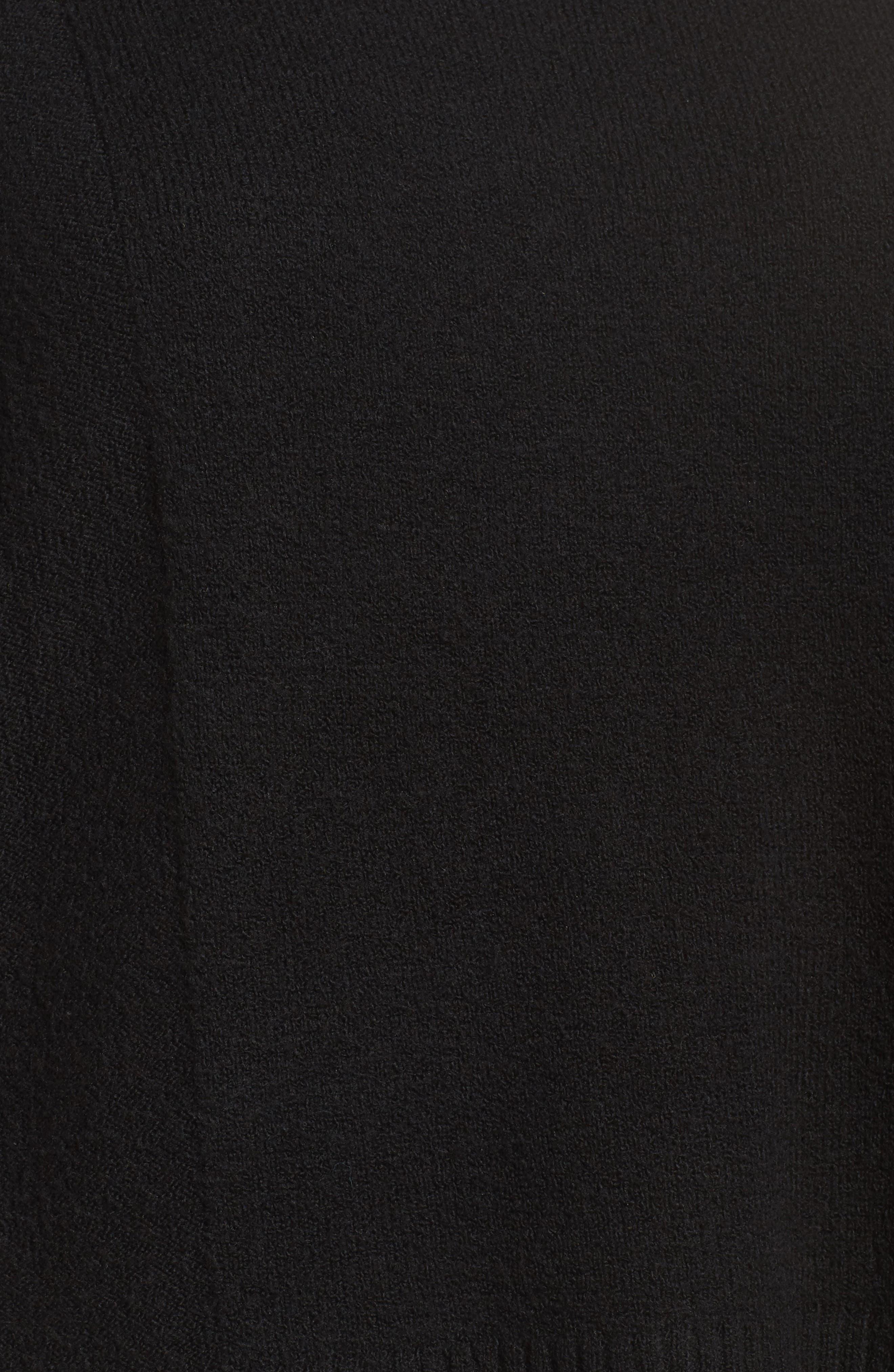 Fringe Poncho Sweater,                             Alternate thumbnail 5, color,                             001