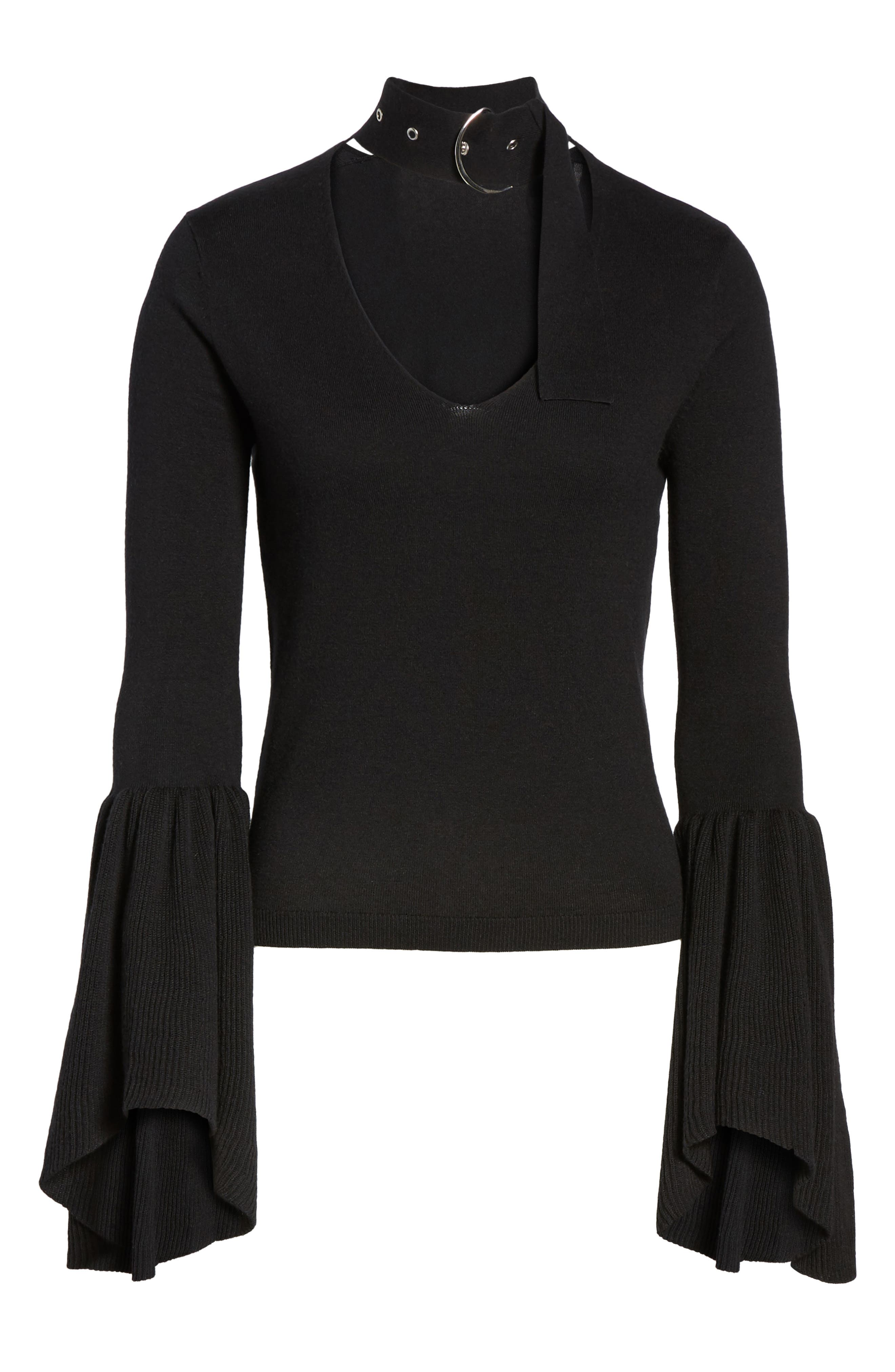 Buckled Choker Bell Sleeve Sweater,                             Alternate thumbnail 6, color,                             001