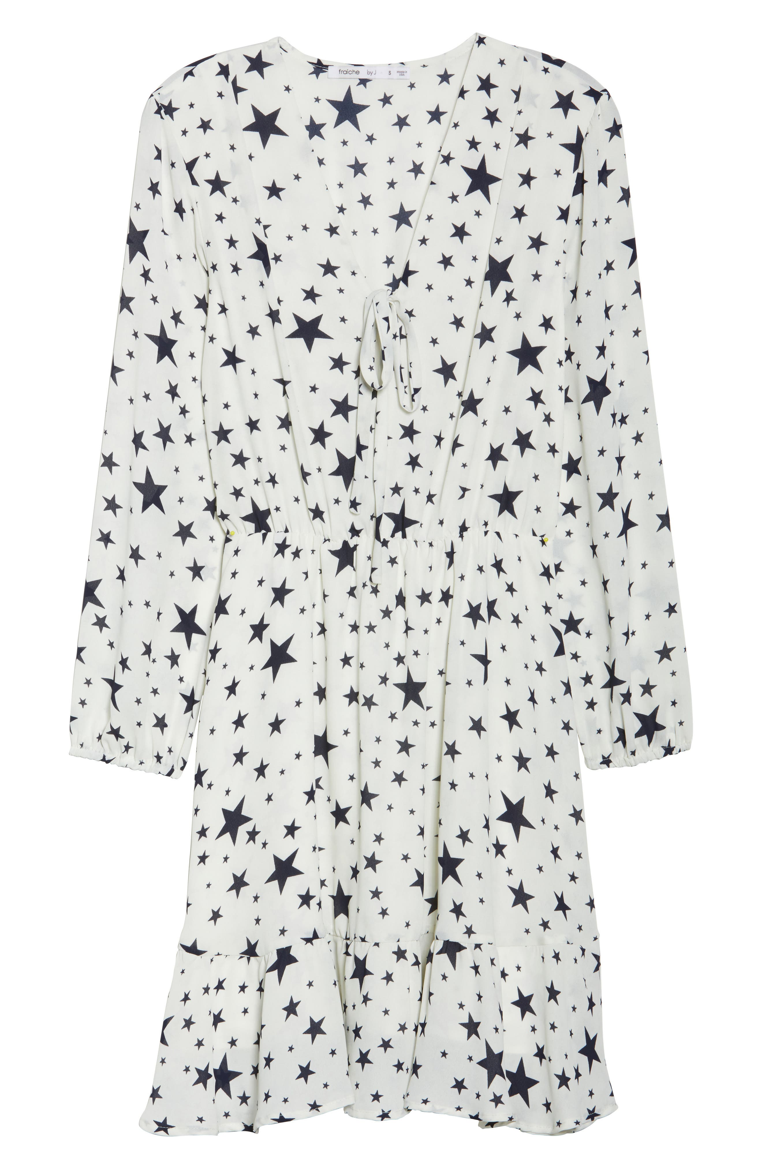 Star Tie Front Dress,                             Alternate thumbnail 7, color,                             STAR NAVY