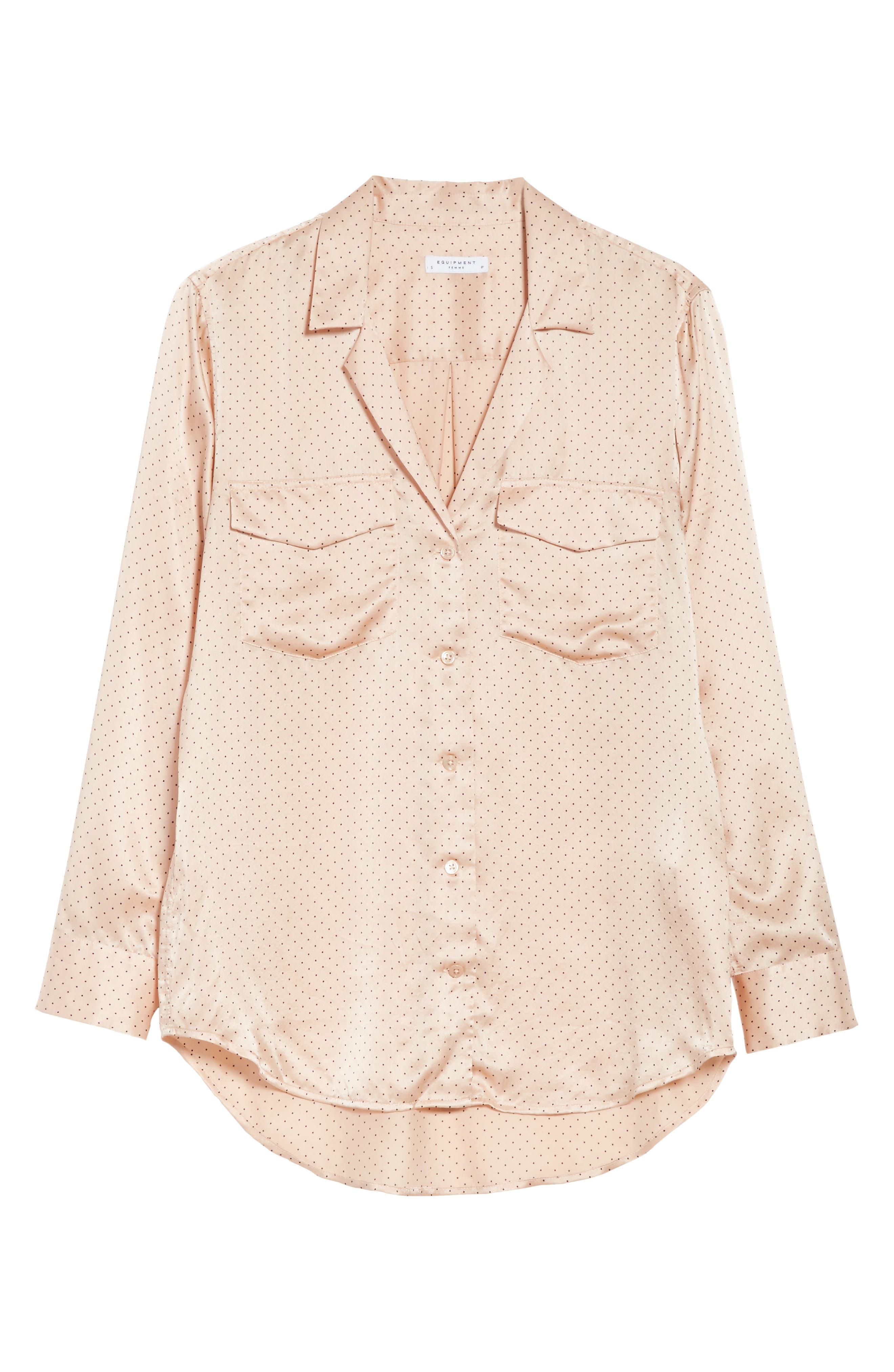 Ansley Dot Silk Shirt,                             Alternate thumbnail 6, color,