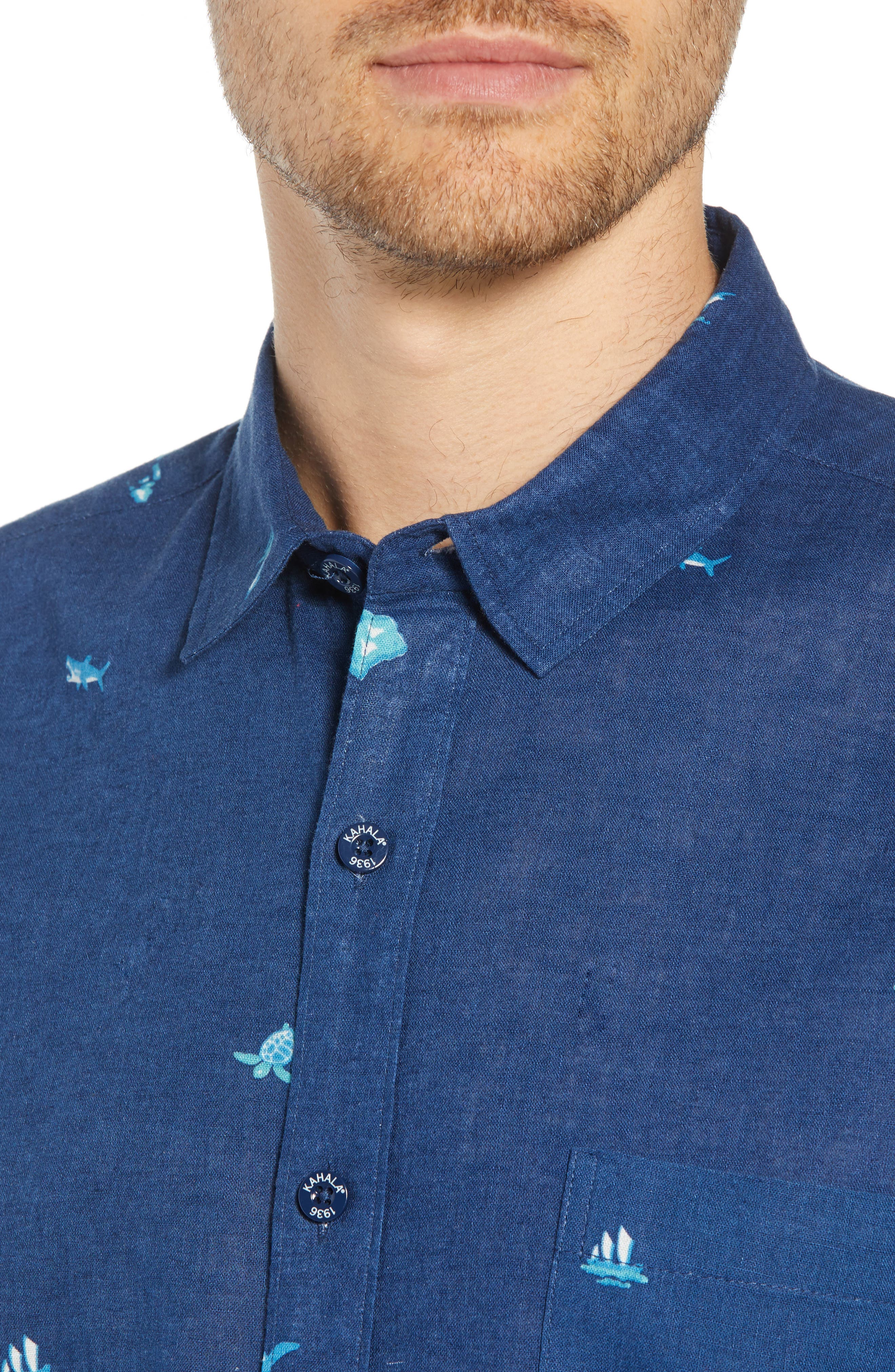 Uncharted Trim Fit Sport Shirt,                             Alternate thumbnail 4, color,                             NAVY