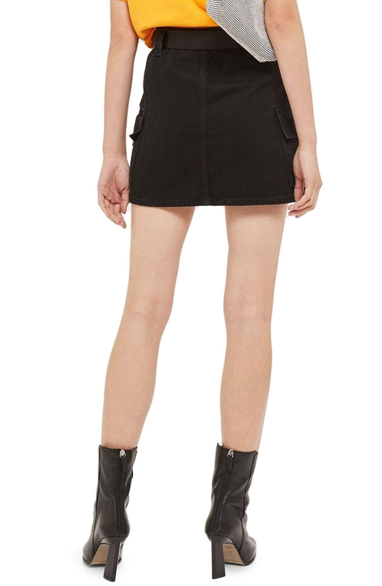 Clip Belt Skirt,                             Alternate thumbnail 2, color,                             BLACK