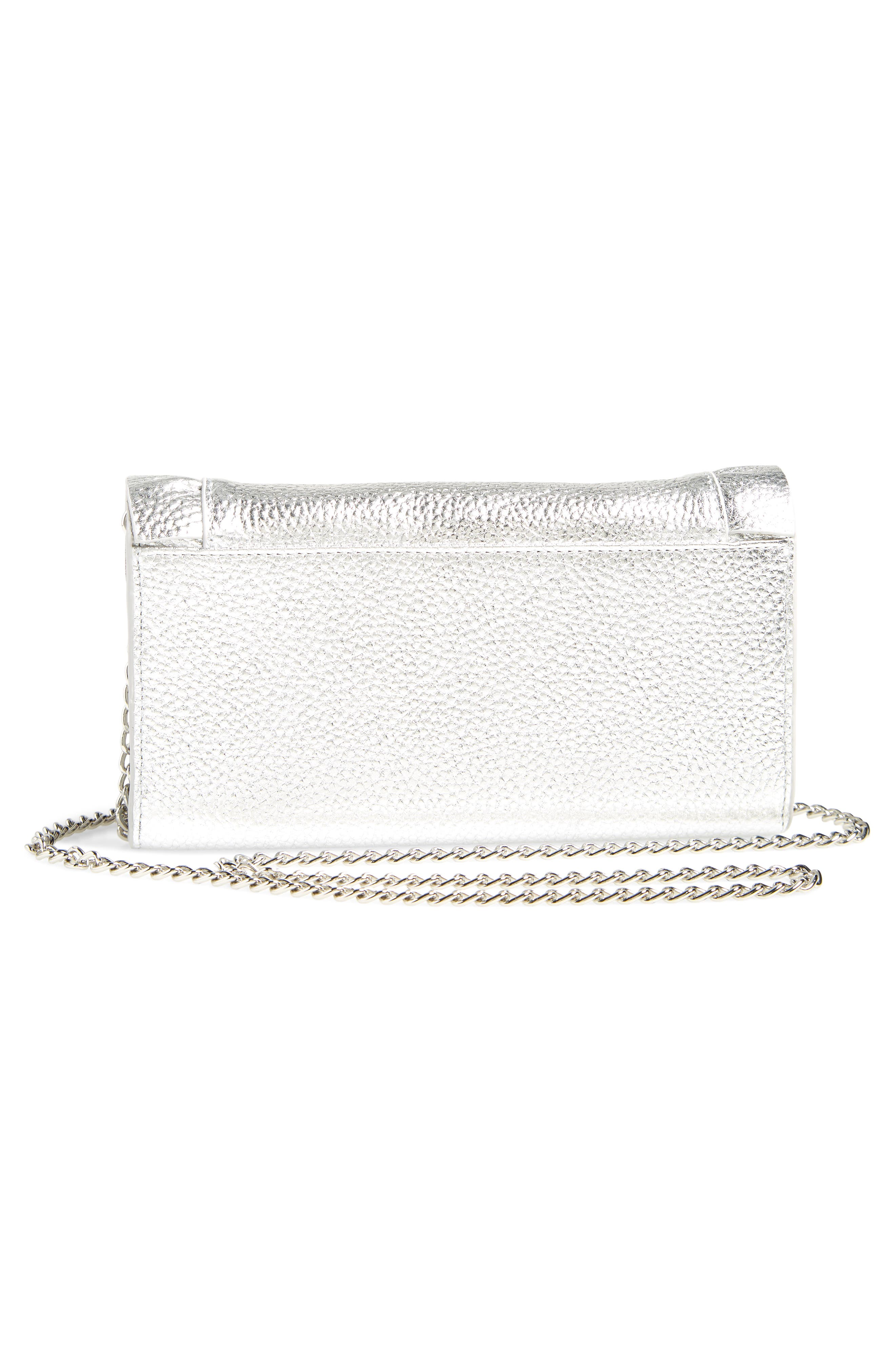 Ruffle Leather Matinée Wallet,                             Alternate thumbnail 3, color,                             SILVER
