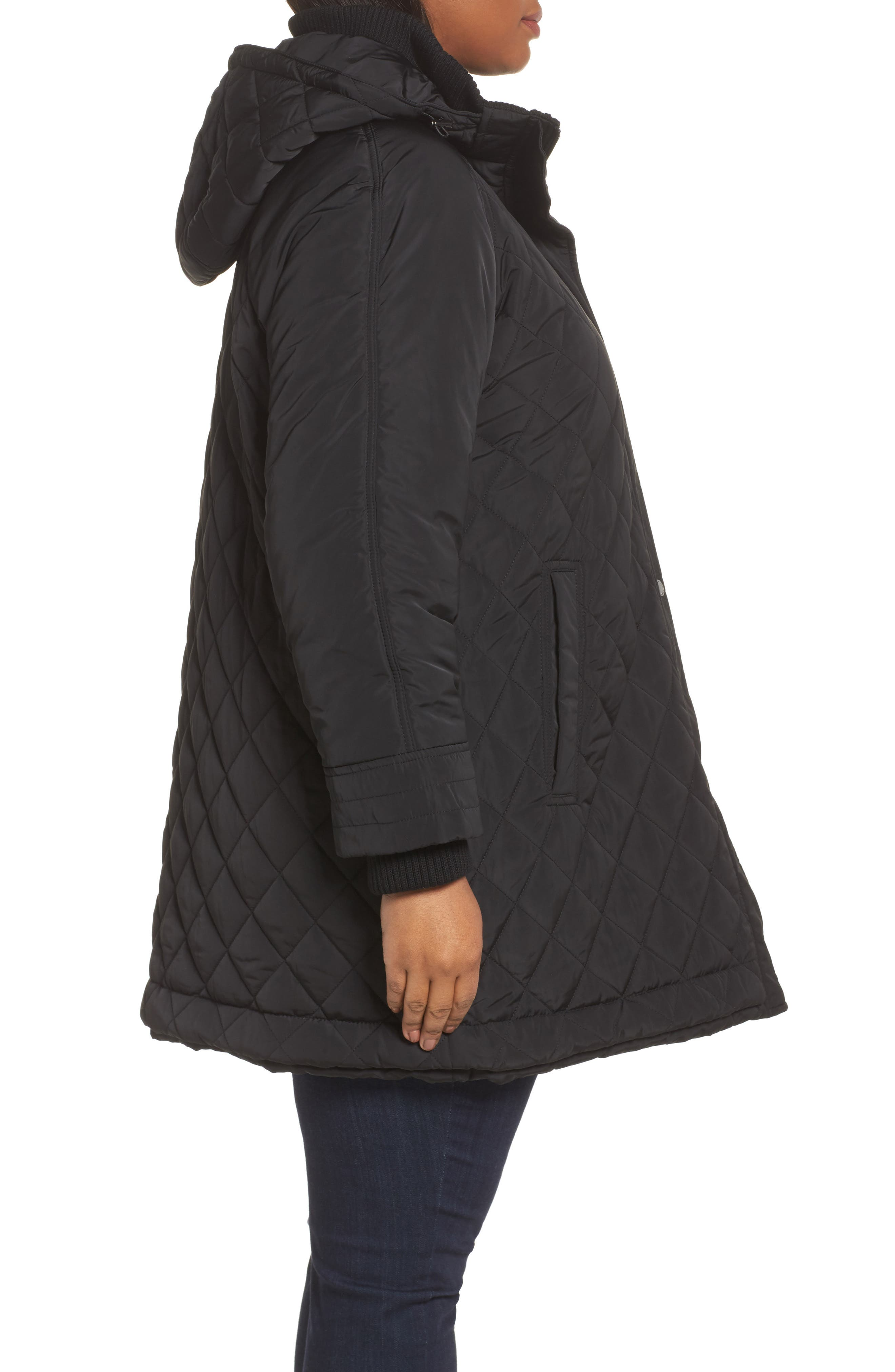 Quilted Hooded Jacket,                             Alternate thumbnail 3, color,                             001