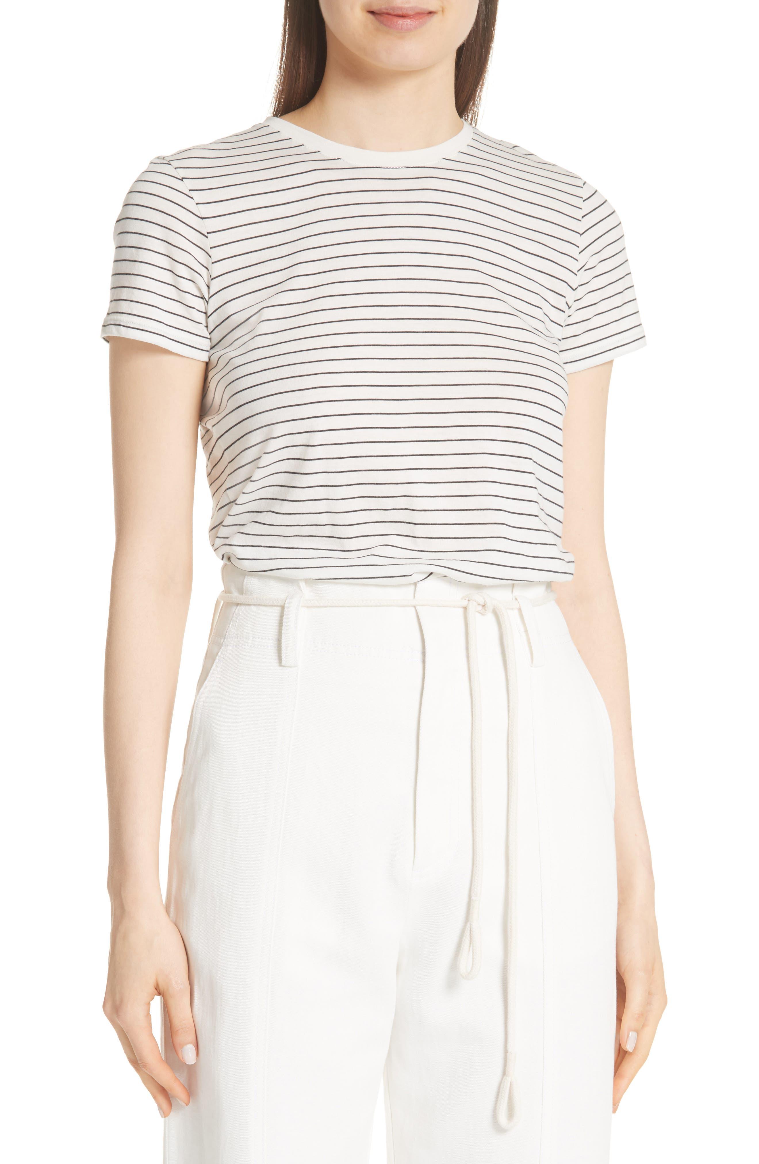 Pencil Stripe Pima Cotton Top,                             Main thumbnail 1, color,                             907