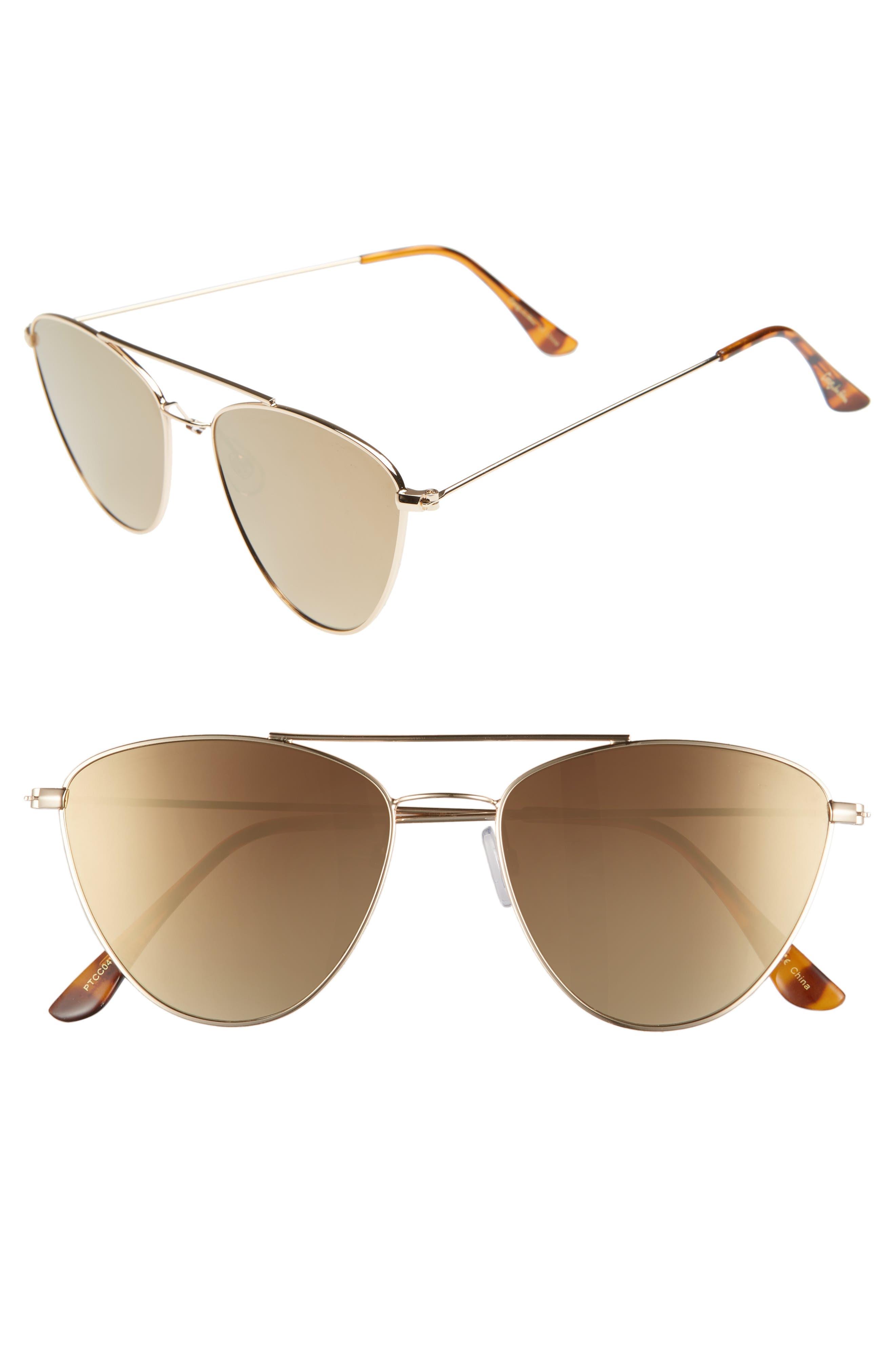 CIRCUS BY SAM EDELMAN 57Mm Mirrored Cat Eye Sunglasses - Gold