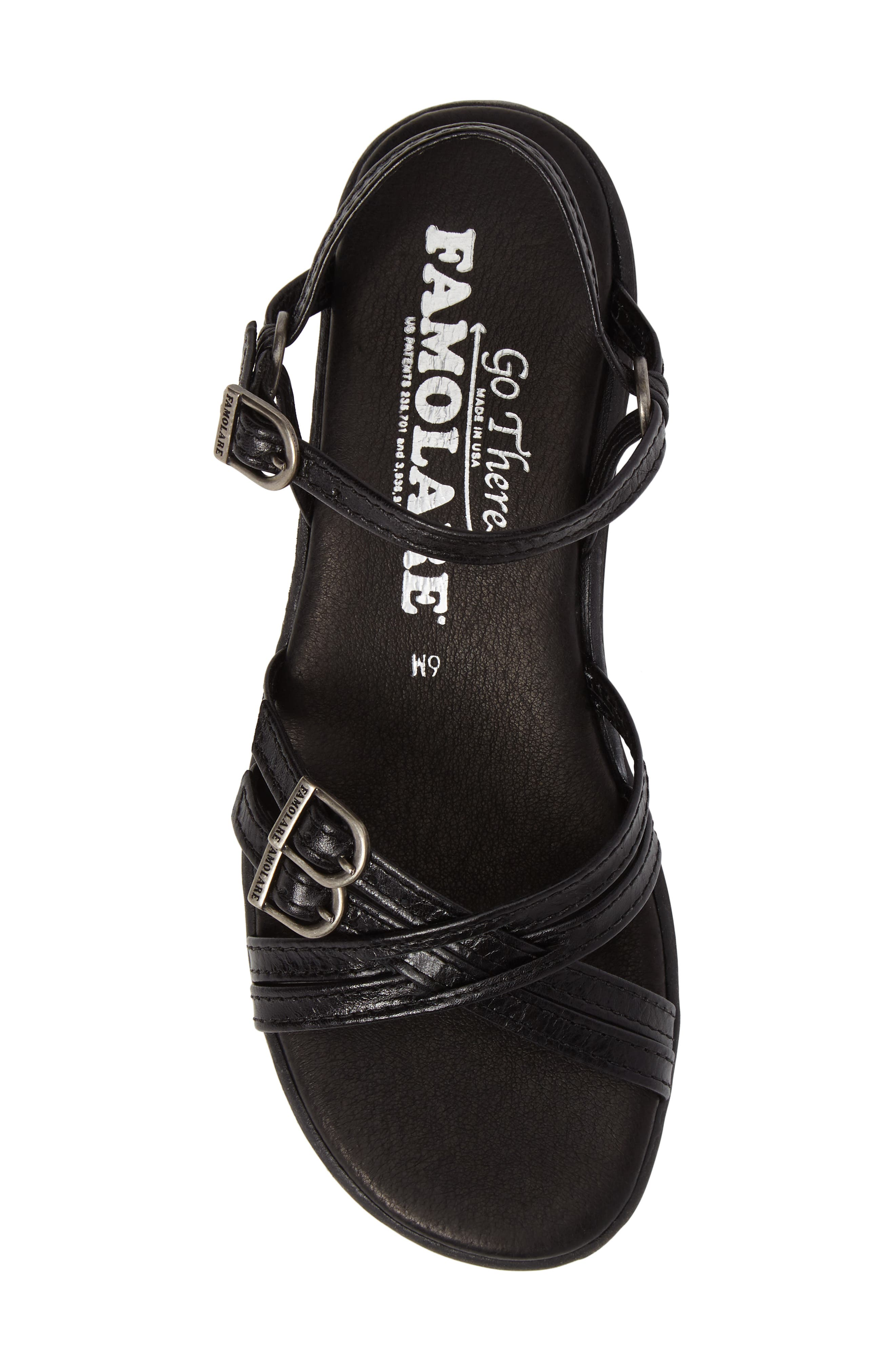 Strapsody Buckle Sandal,                             Alternate thumbnail 5, color,                             COAL LEATHER