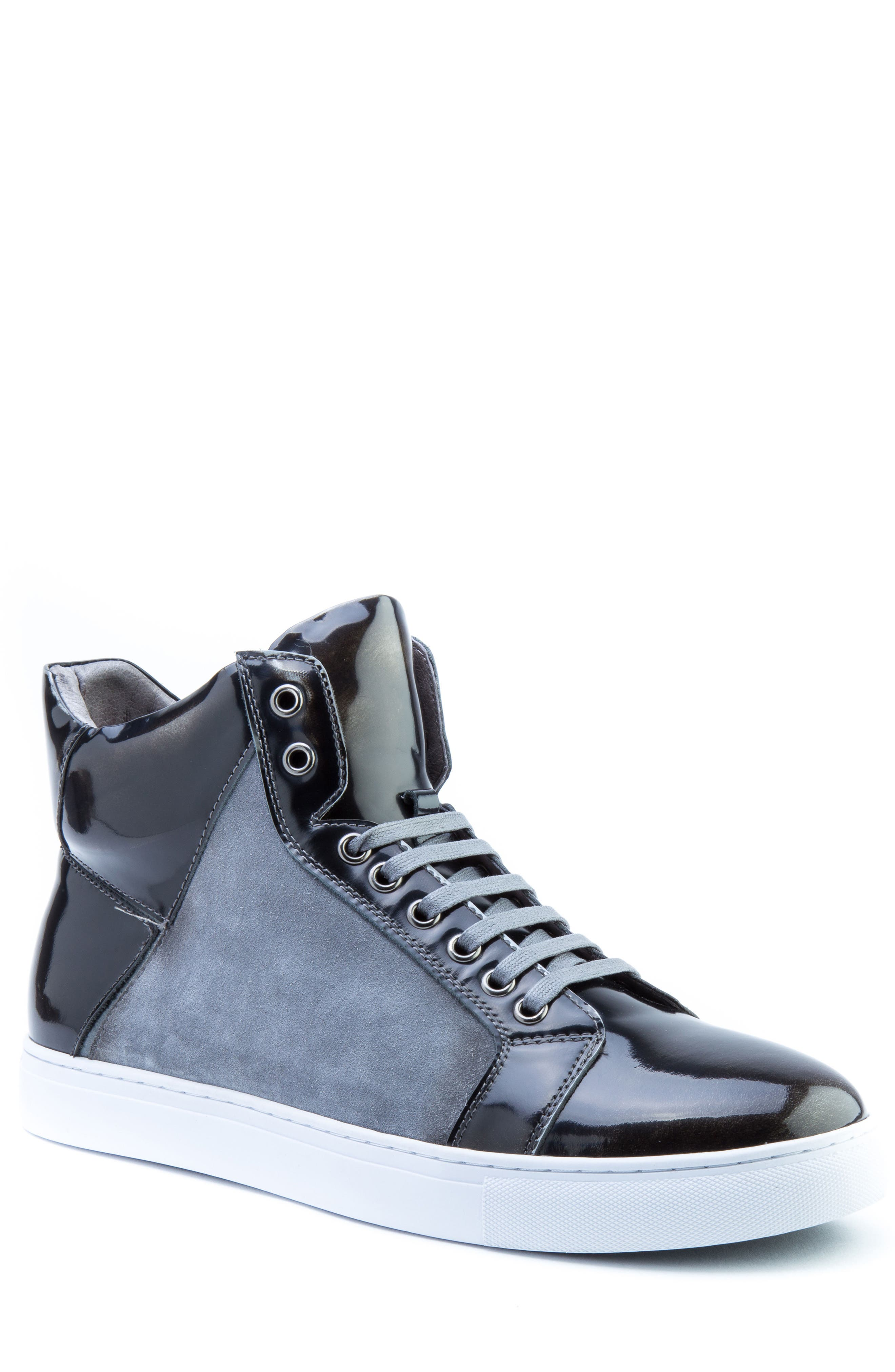 Douglas High Top Sneaker,                             Main thumbnail 1, color,                             BLACK LEATHER