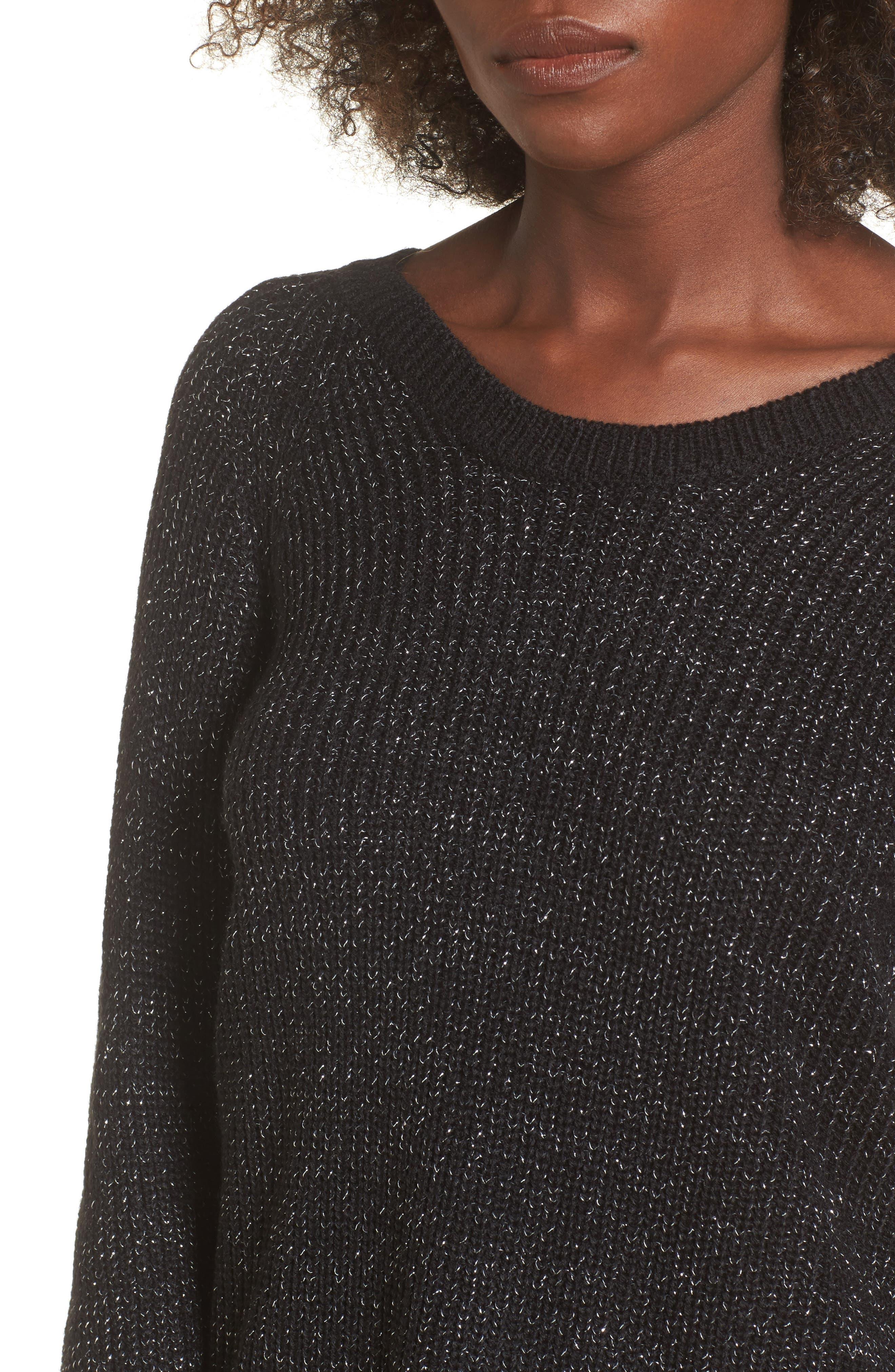 Sparkle Knit Sweater,                             Alternate thumbnail 4, color,                             001