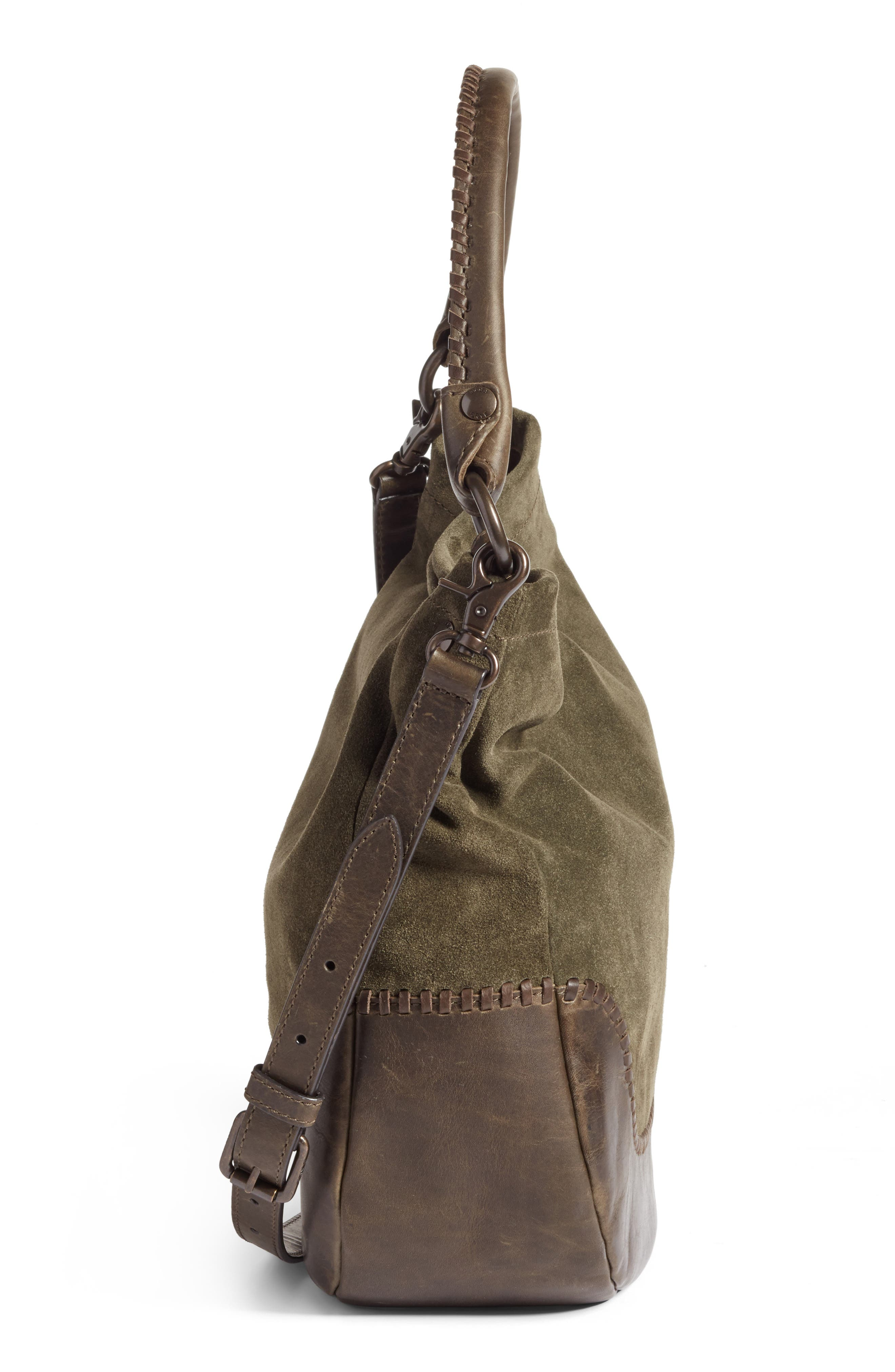 Melissa Suede & Whipstitch Leather Hobo,                             Alternate thumbnail 5, color,