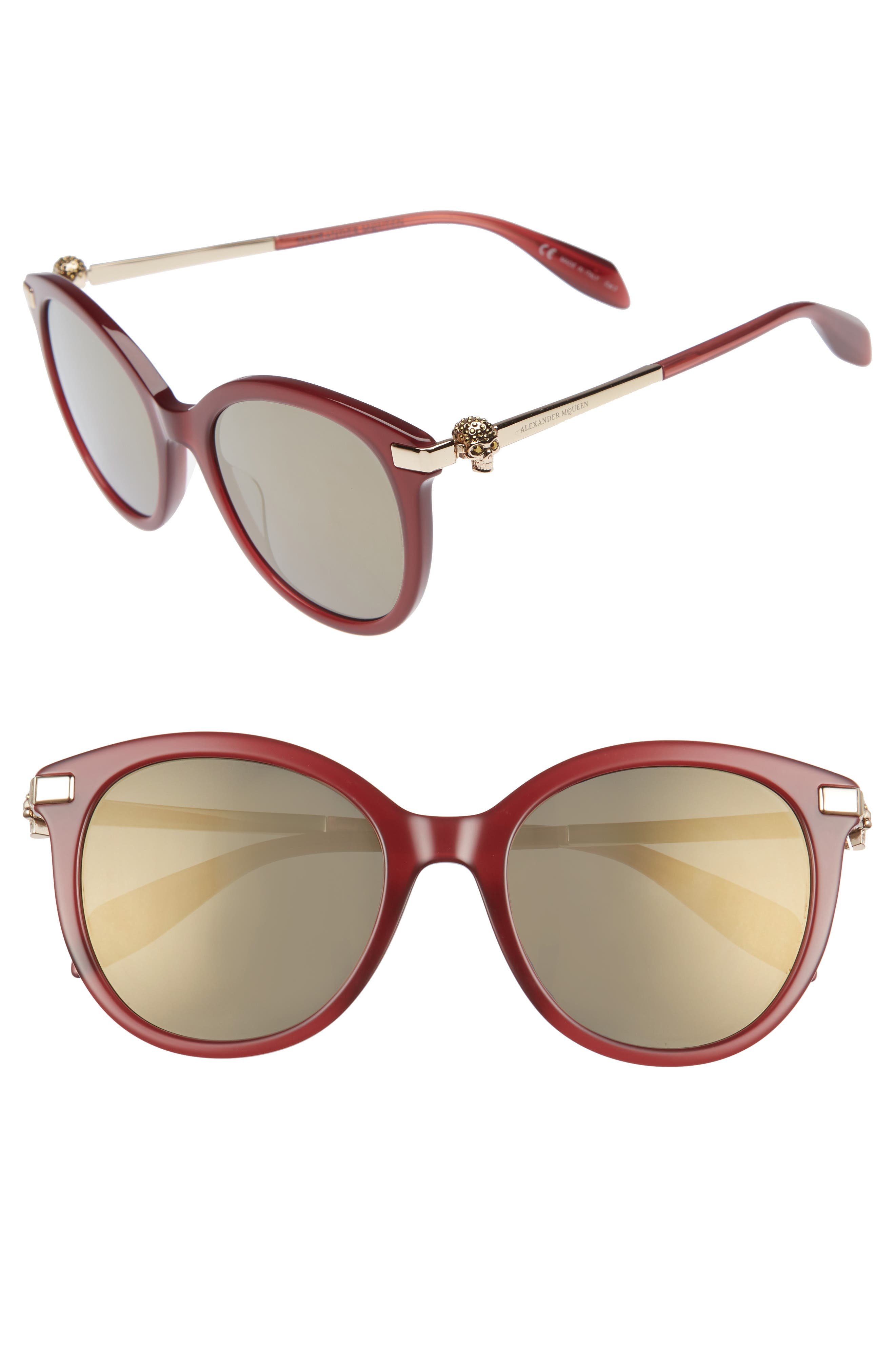 53mm Rounded Cat Eye Sunglasses,                             Main thumbnail 1, color,                             BURGUNDY