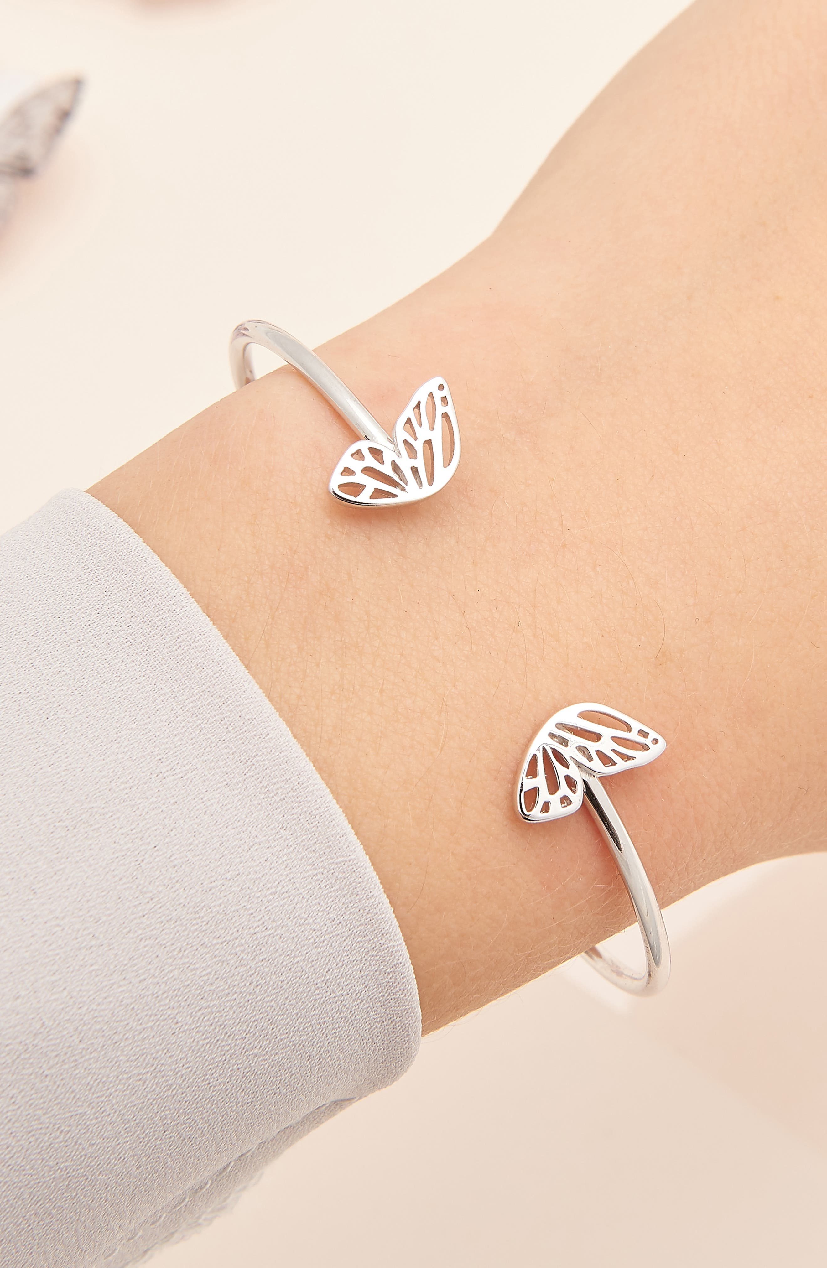 Butterfly Wing Open Bangle Bracelet,                             Alternate thumbnail 2, color,                             SILVER