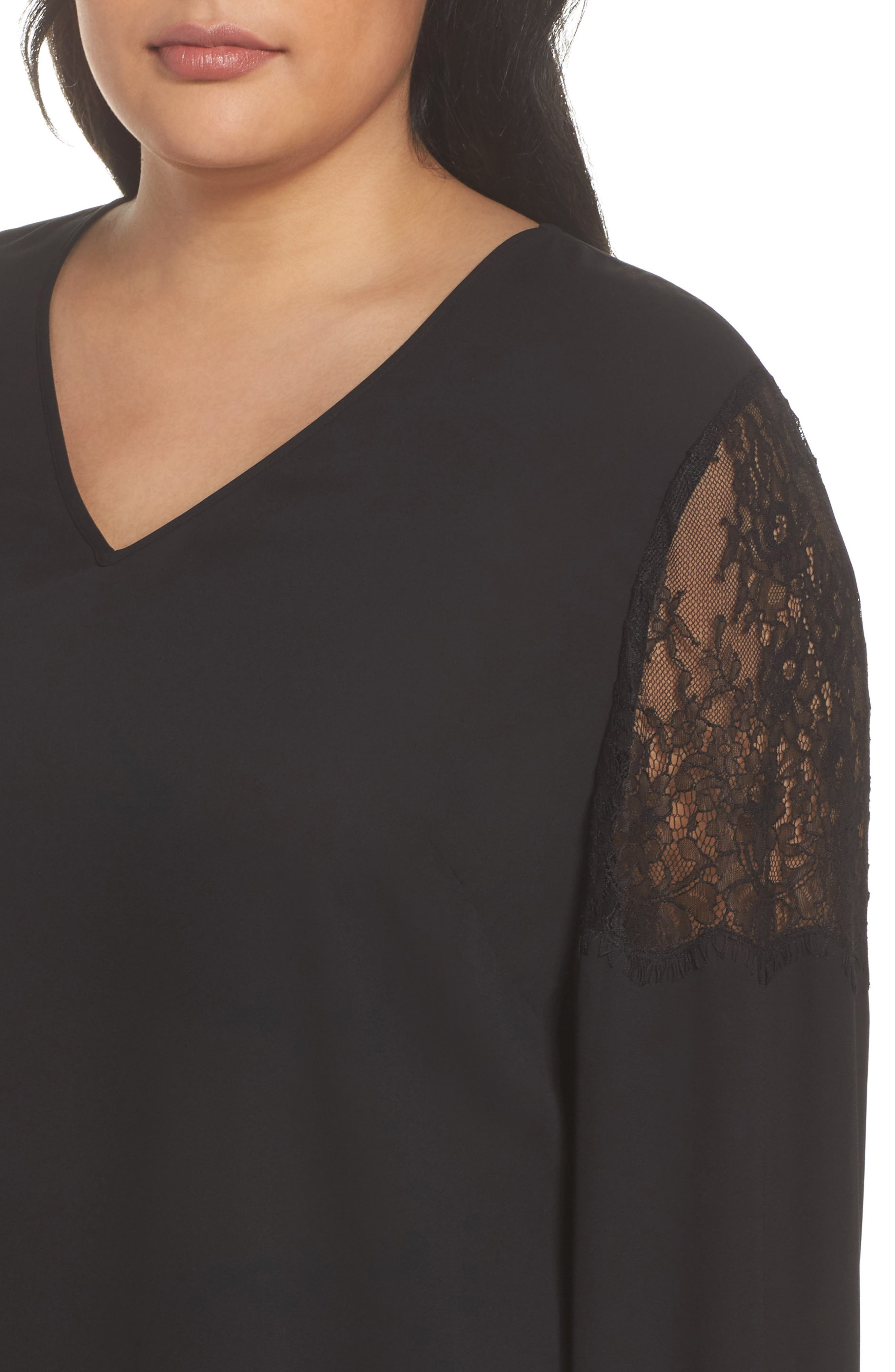 Lace Inset Sleeve Top,                             Alternate thumbnail 4, color,                             001