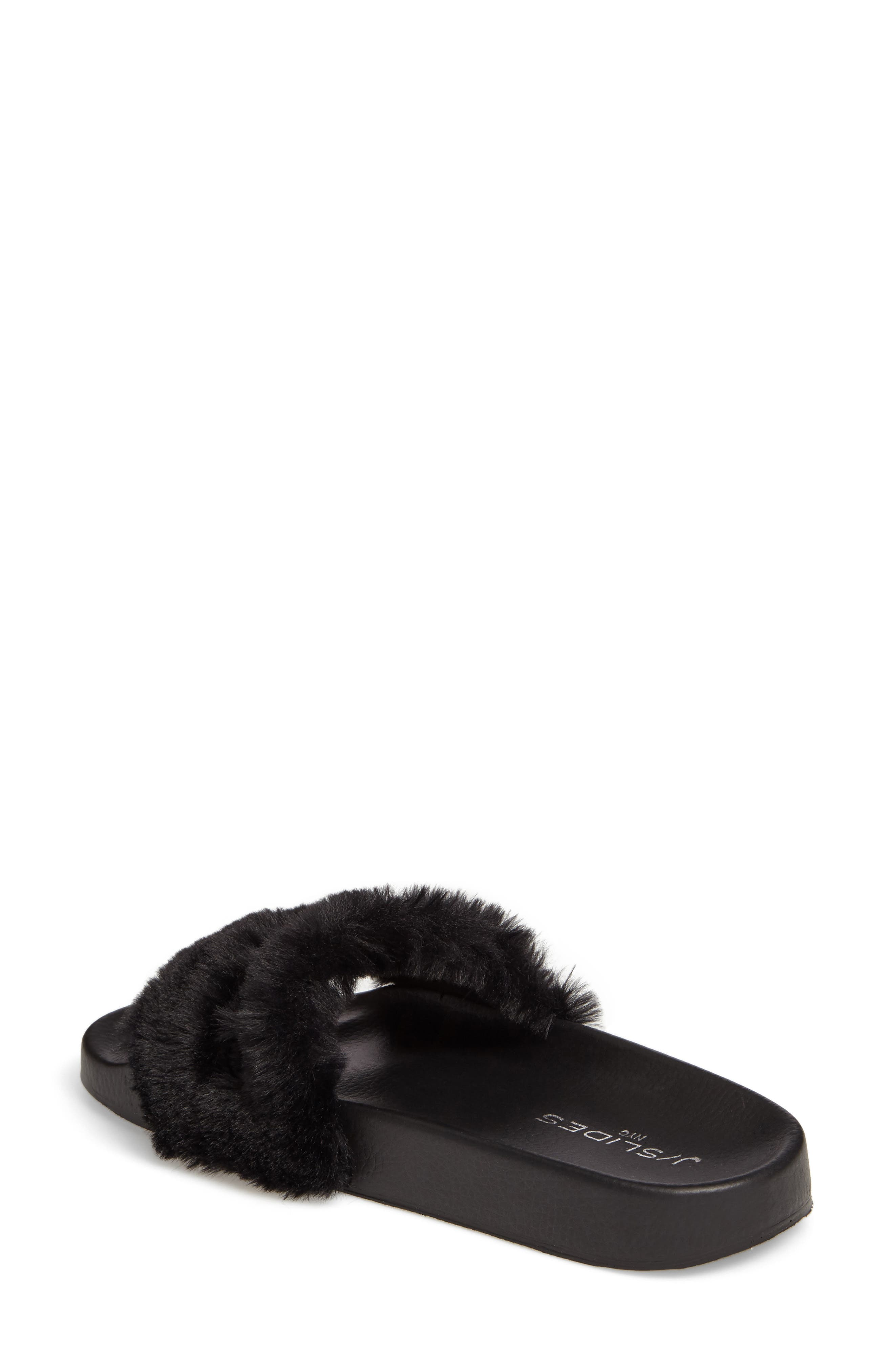 Samantha Faux Fur Slide,                             Alternate thumbnail 2, color,                             001