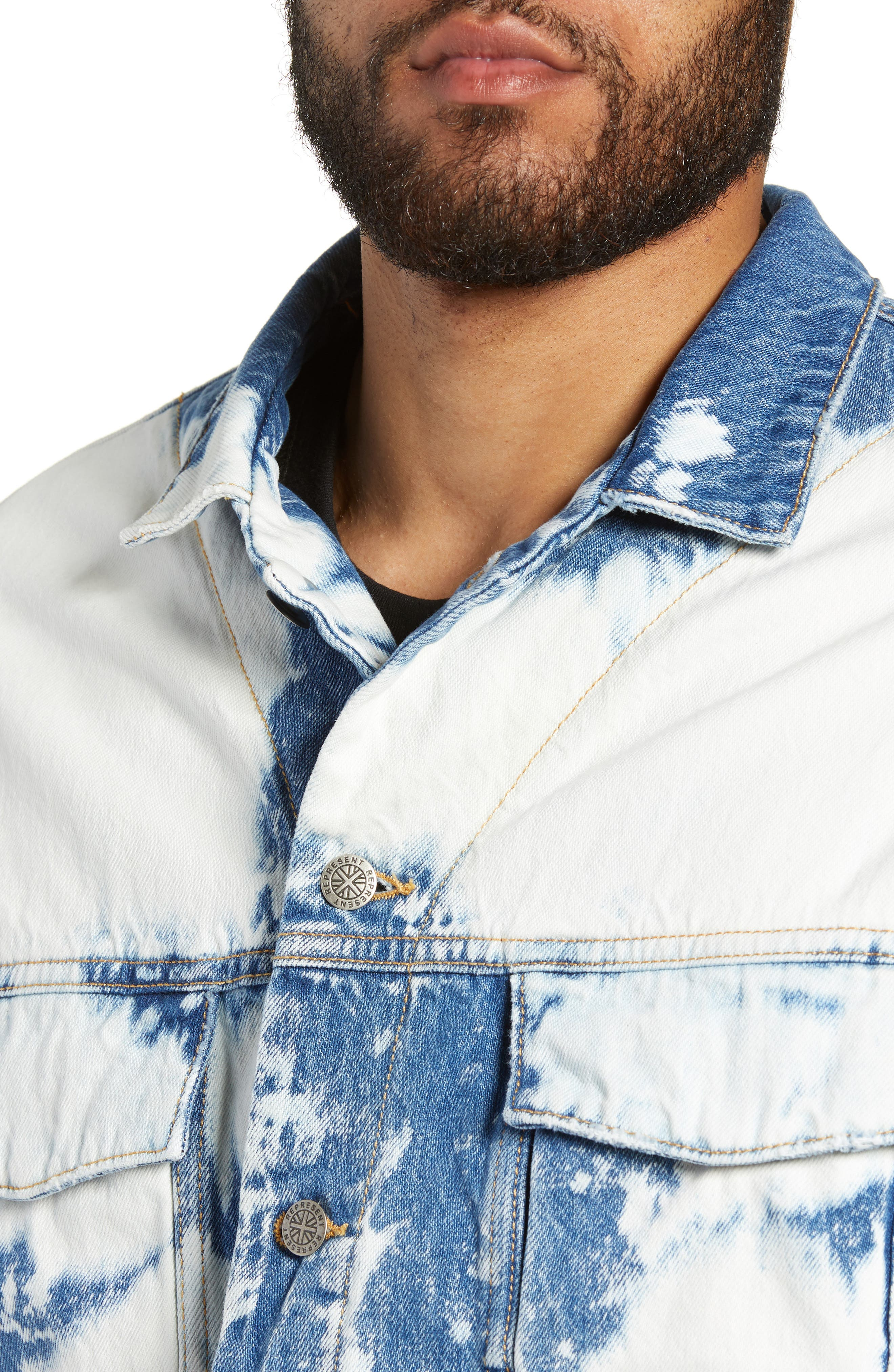 Stained Denim Jacket,                             Alternate thumbnail 4, color,                             STAINED