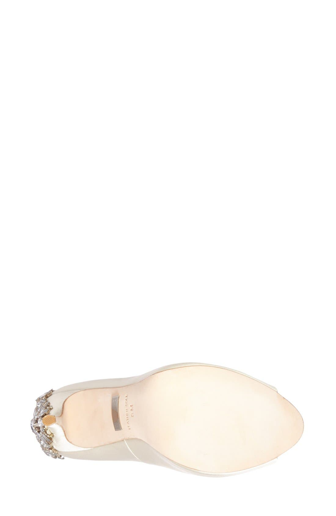 BADGLEY MISCHKA COLLECTION,                             Badgley Mischka 'Kiara' Crystal Back Open Toe Pump,                             Alternate thumbnail 4, color,                             IVORY SATN