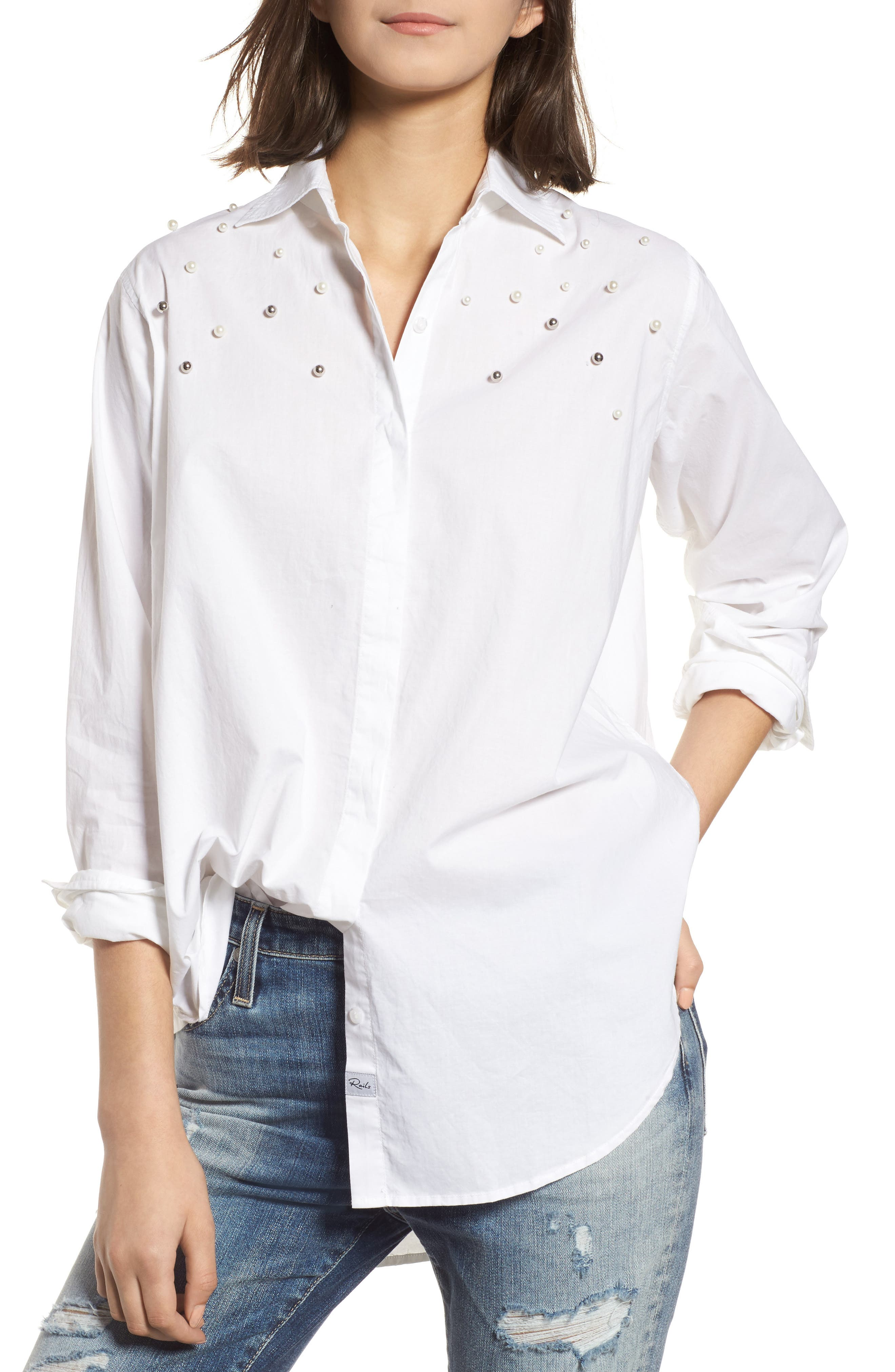 Taylor Beaded Shirt,                         Main,                         color, 100