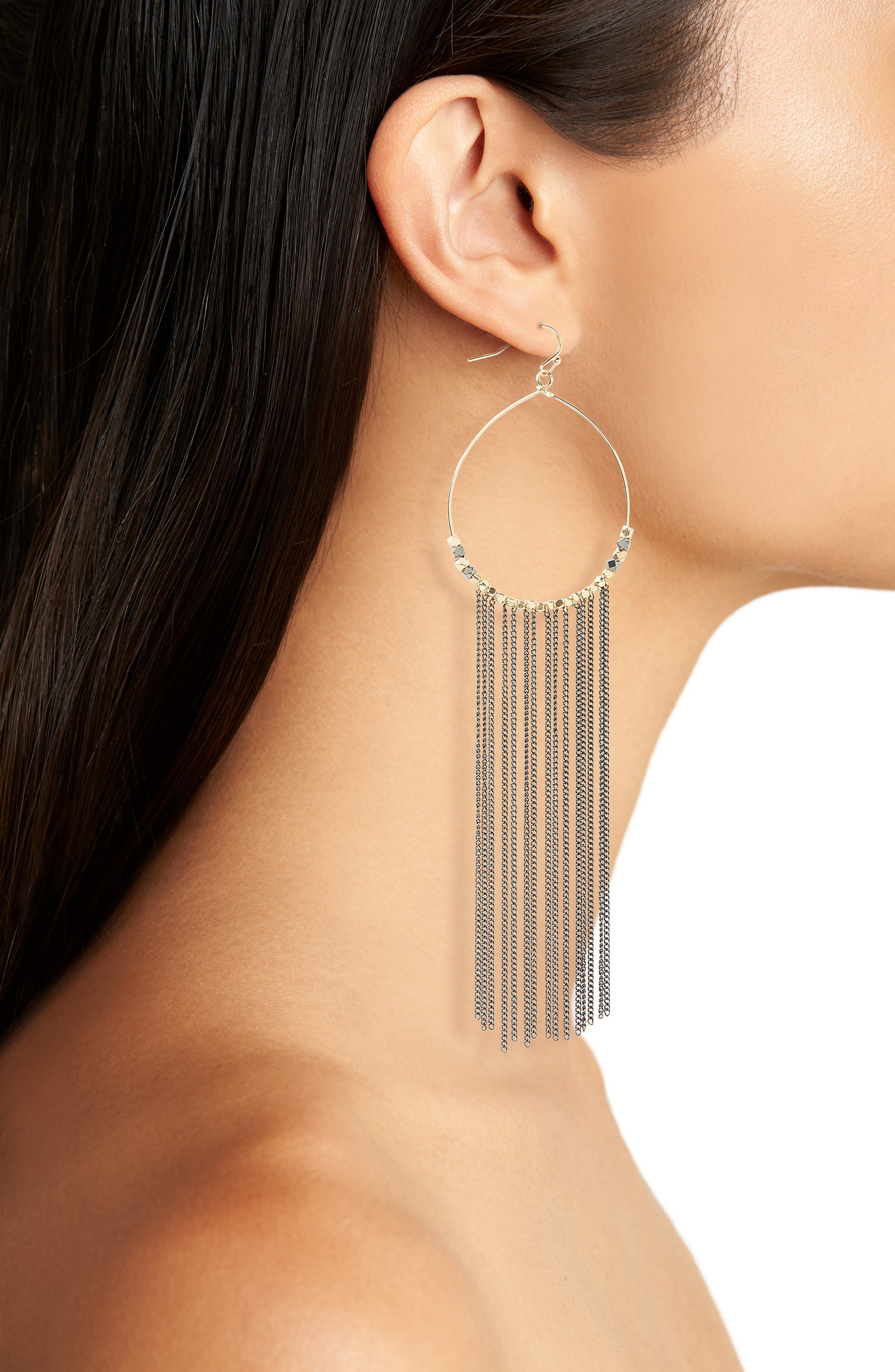 Chain Fringe Hoop Earrings,                             Alternate thumbnail 2, color,                             040