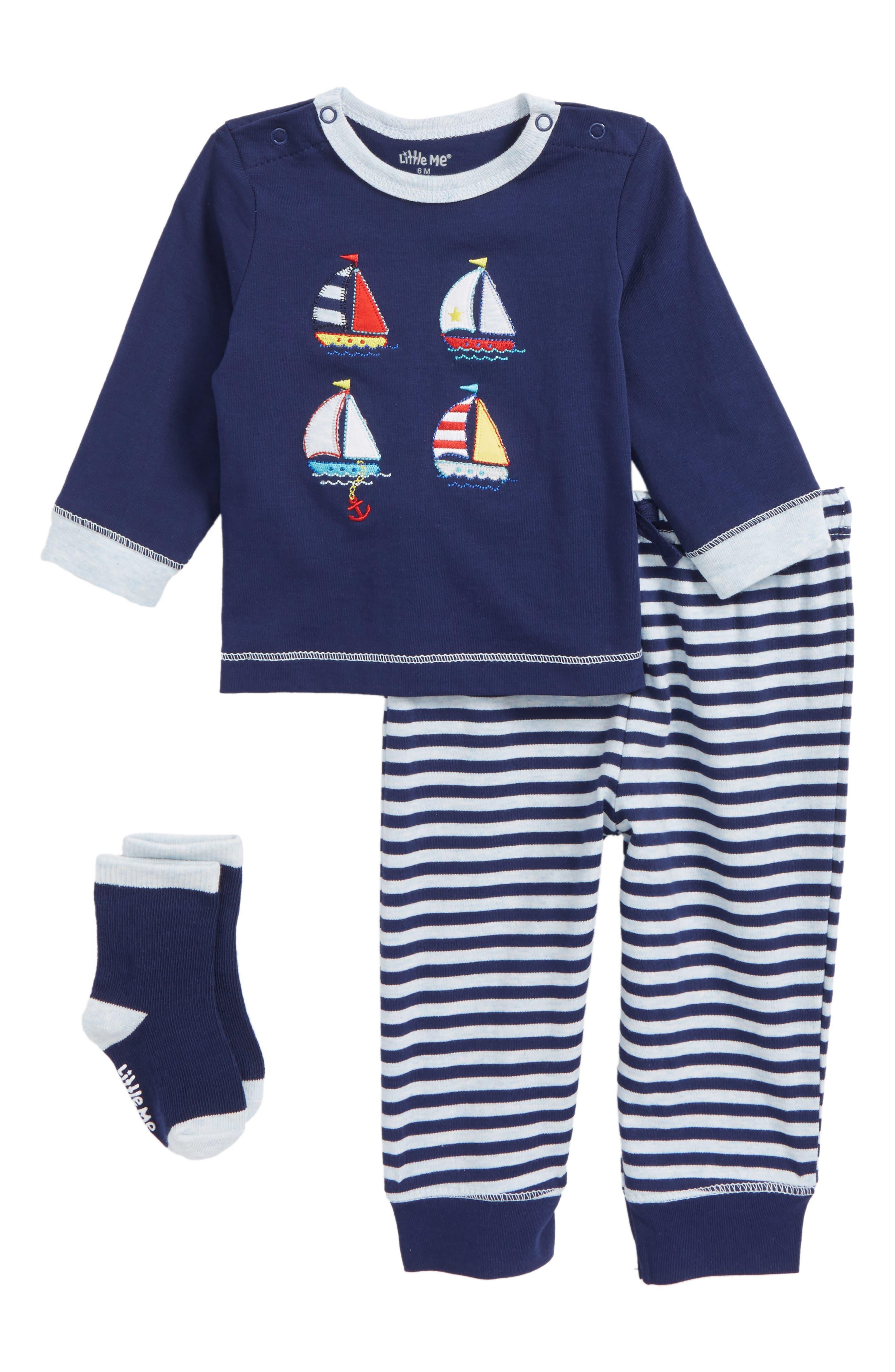 Sailboat T-Shirt, Jogger Pants & Socks Set,                         Main,                         color, 469