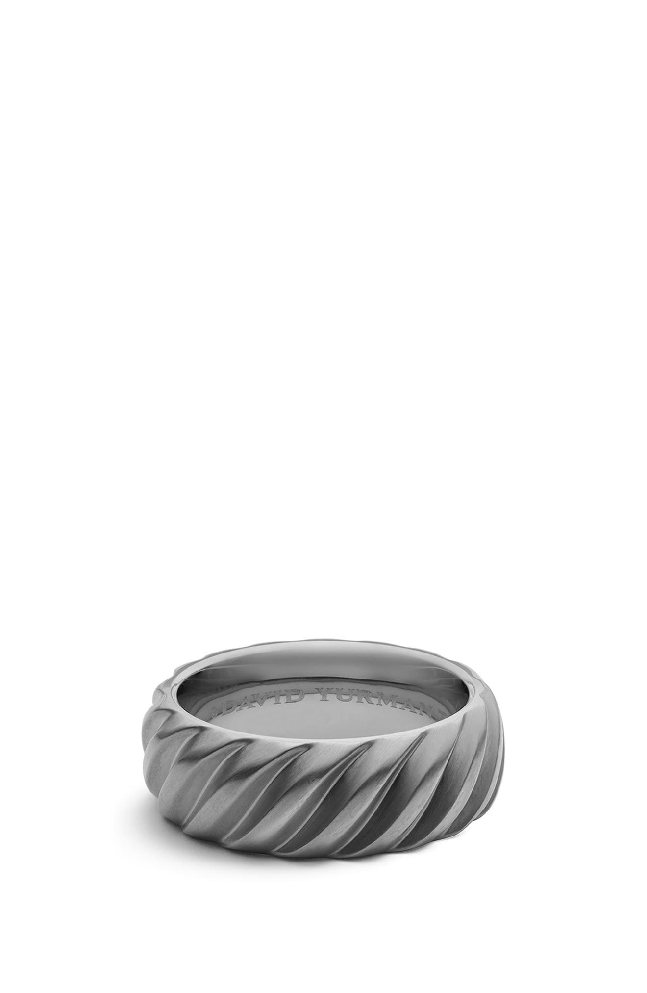 'Modern Cable' Wide Band Ring,                             Main thumbnail 1, color,                             TITANIUM