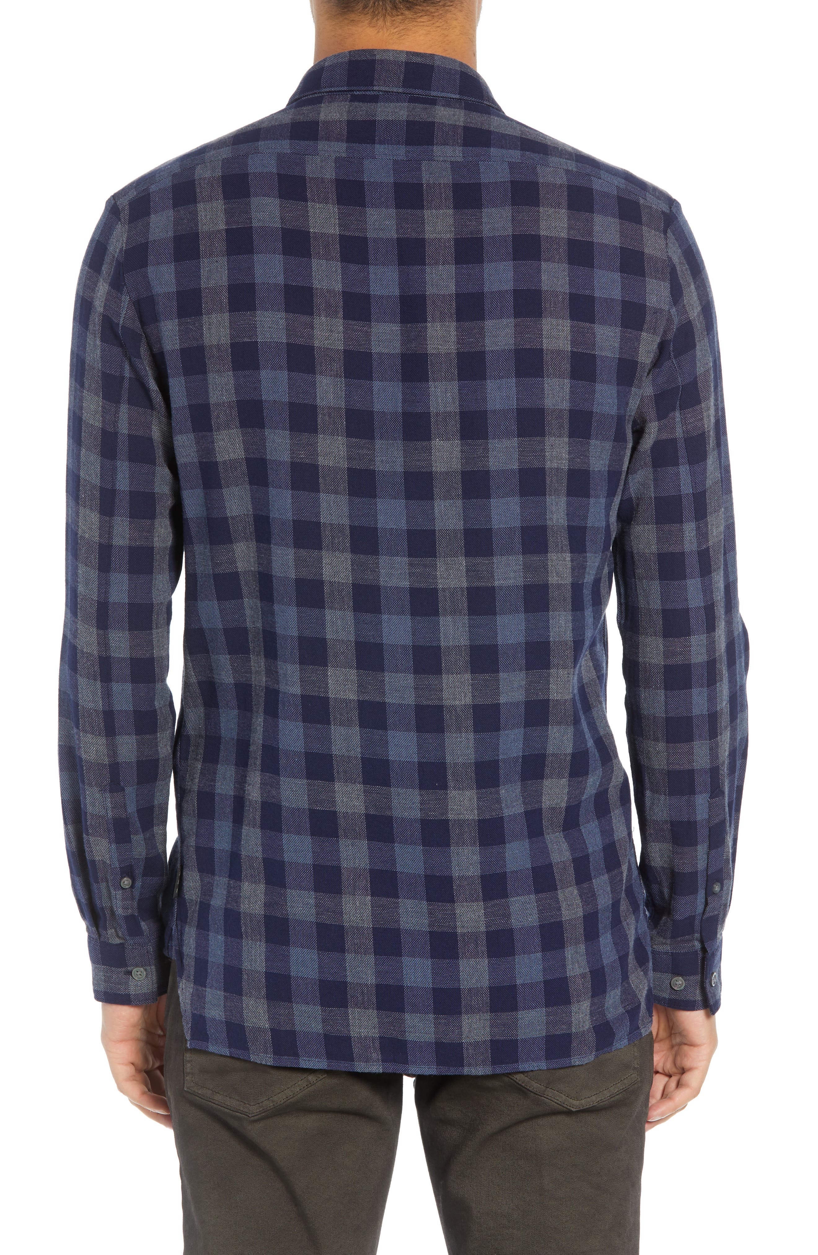 JOHN VARVATOS STAR USA,                             Regular Fit Plaid Sport Shirt,                             Alternate thumbnail 3, color,                             NAVY