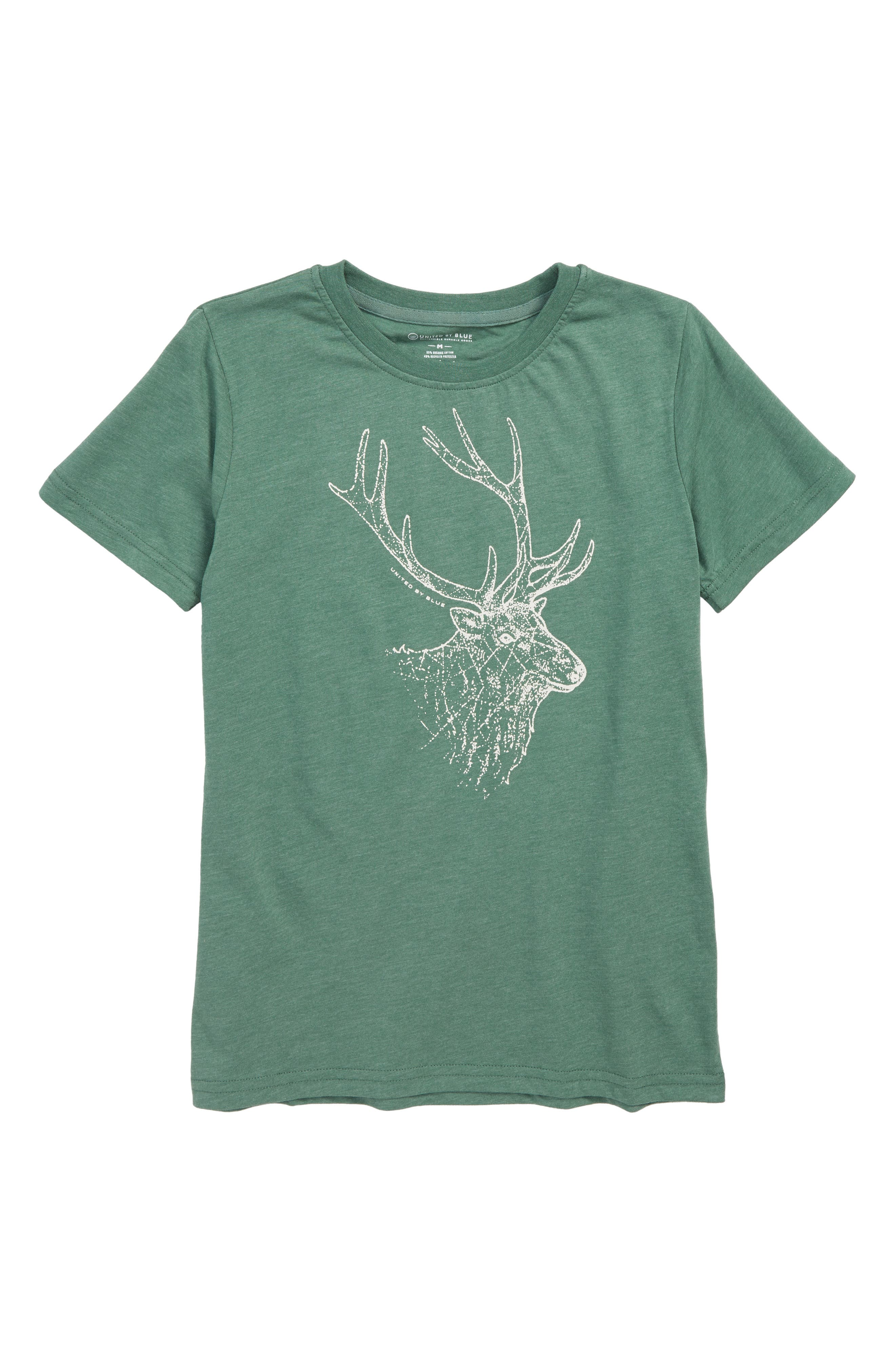 Stag T-Shirt,                         Main,                         color, DARK GREEN