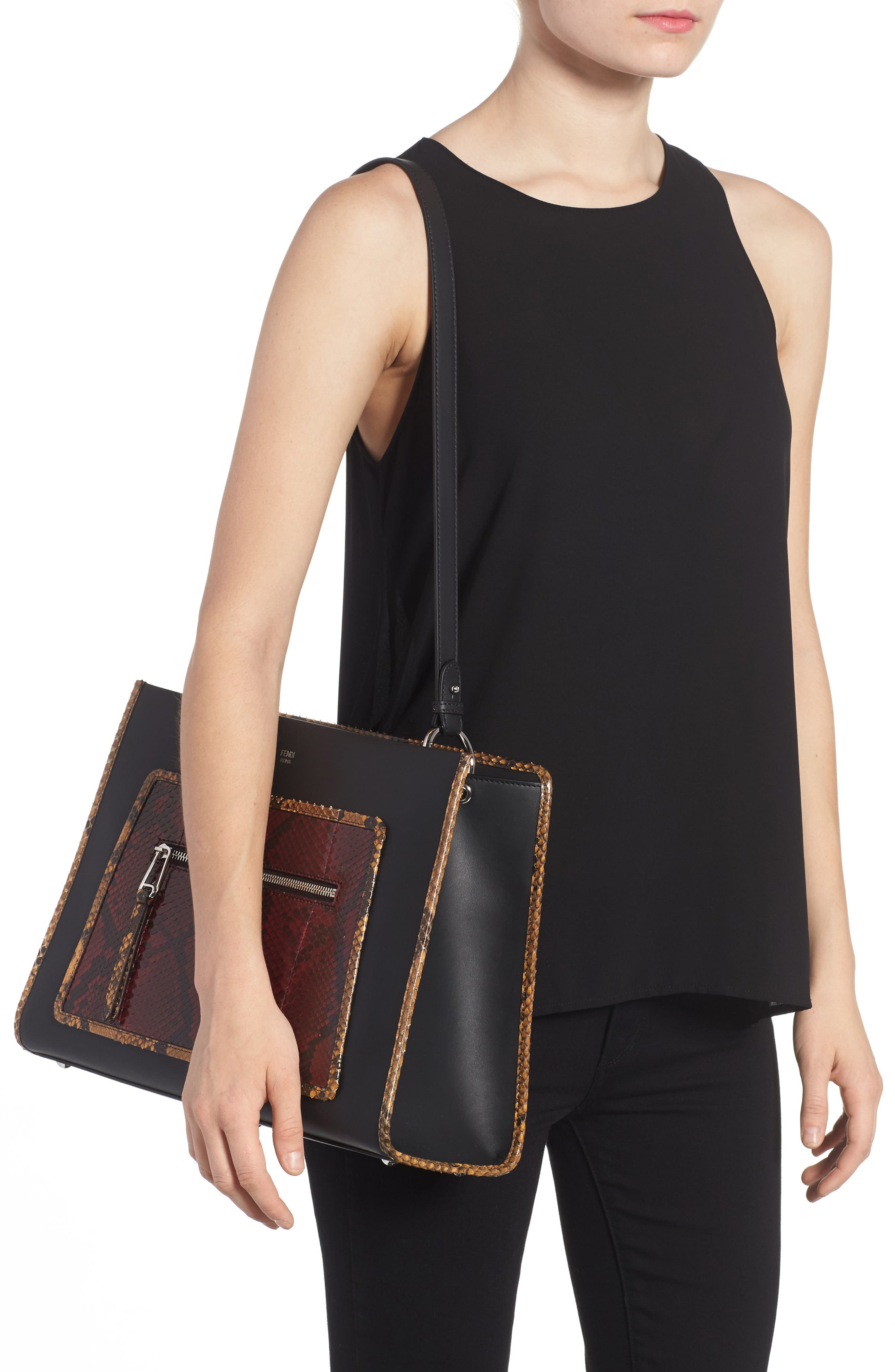 Runaway Leather & Genuine Python Tote,                             Alternate thumbnail 2, color,