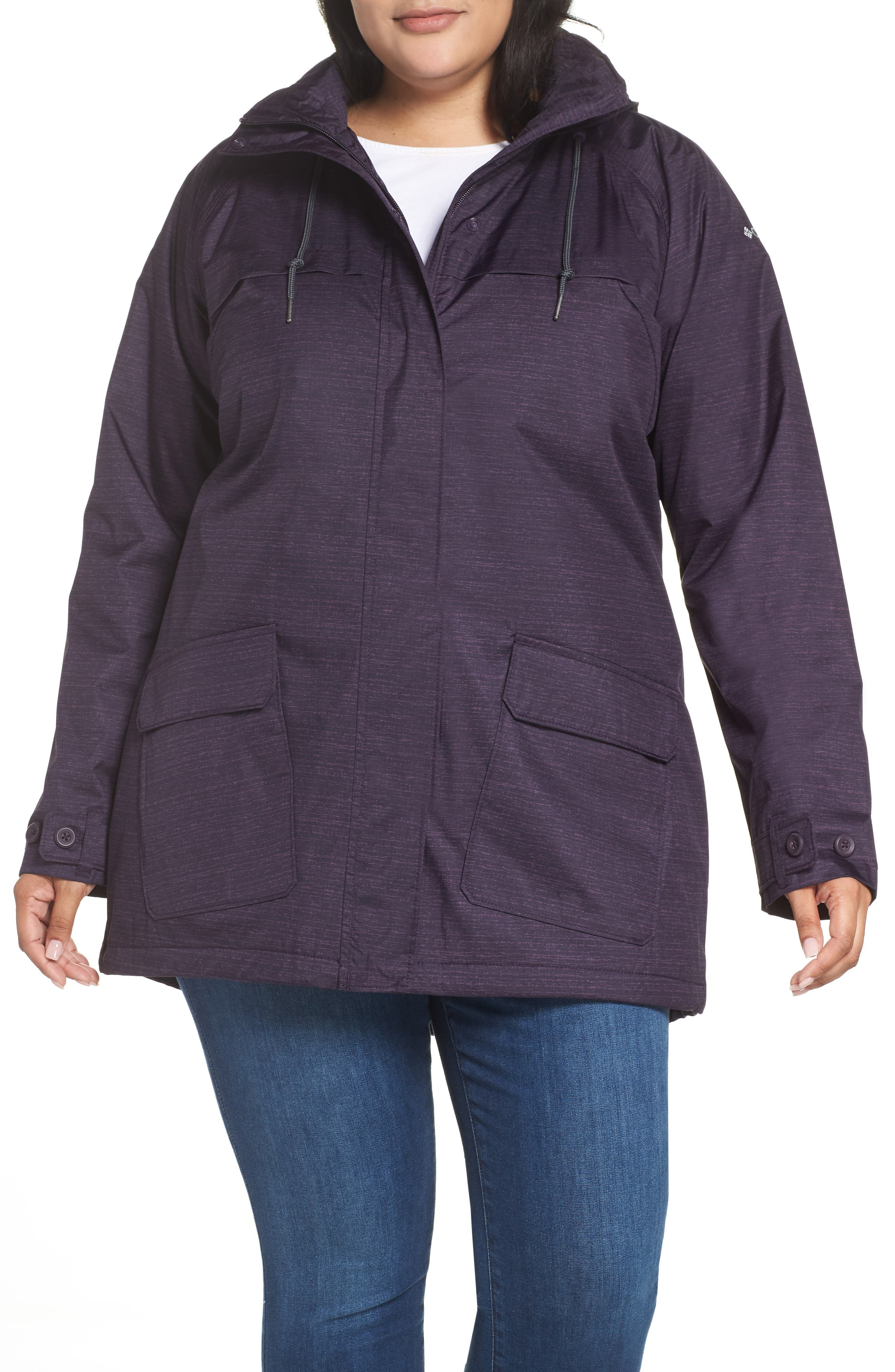 Lookout Crest Omni-Tech Waterproof Jacket,                         Main,                         color, DARK PLUM TEXTURE PRINT