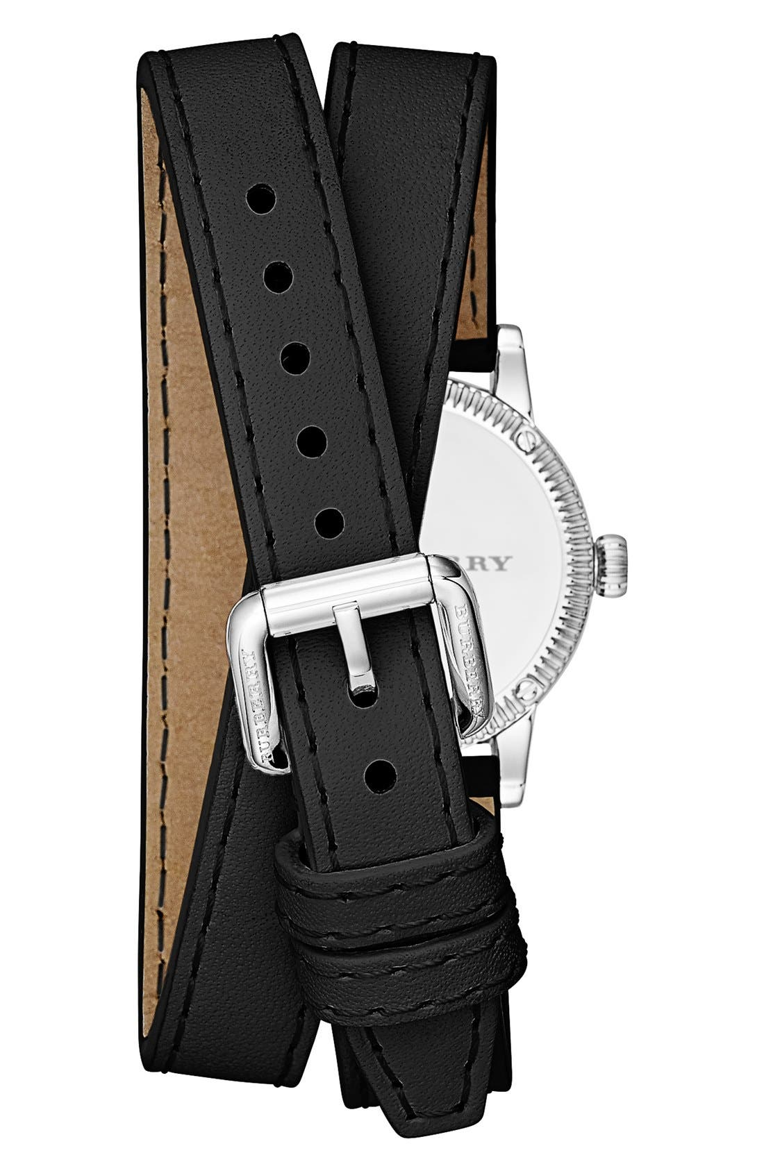 'Utilitarian' Round Leather Wrap Watch, 30mm,                             Alternate thumbnail 3, color,                             001
