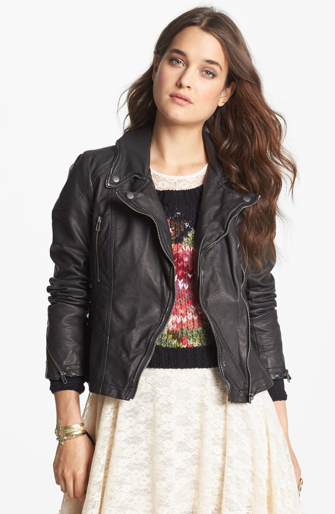 Distressed Faux Leather Moto Jacket,                             Main thumbnail 1, color,                             001