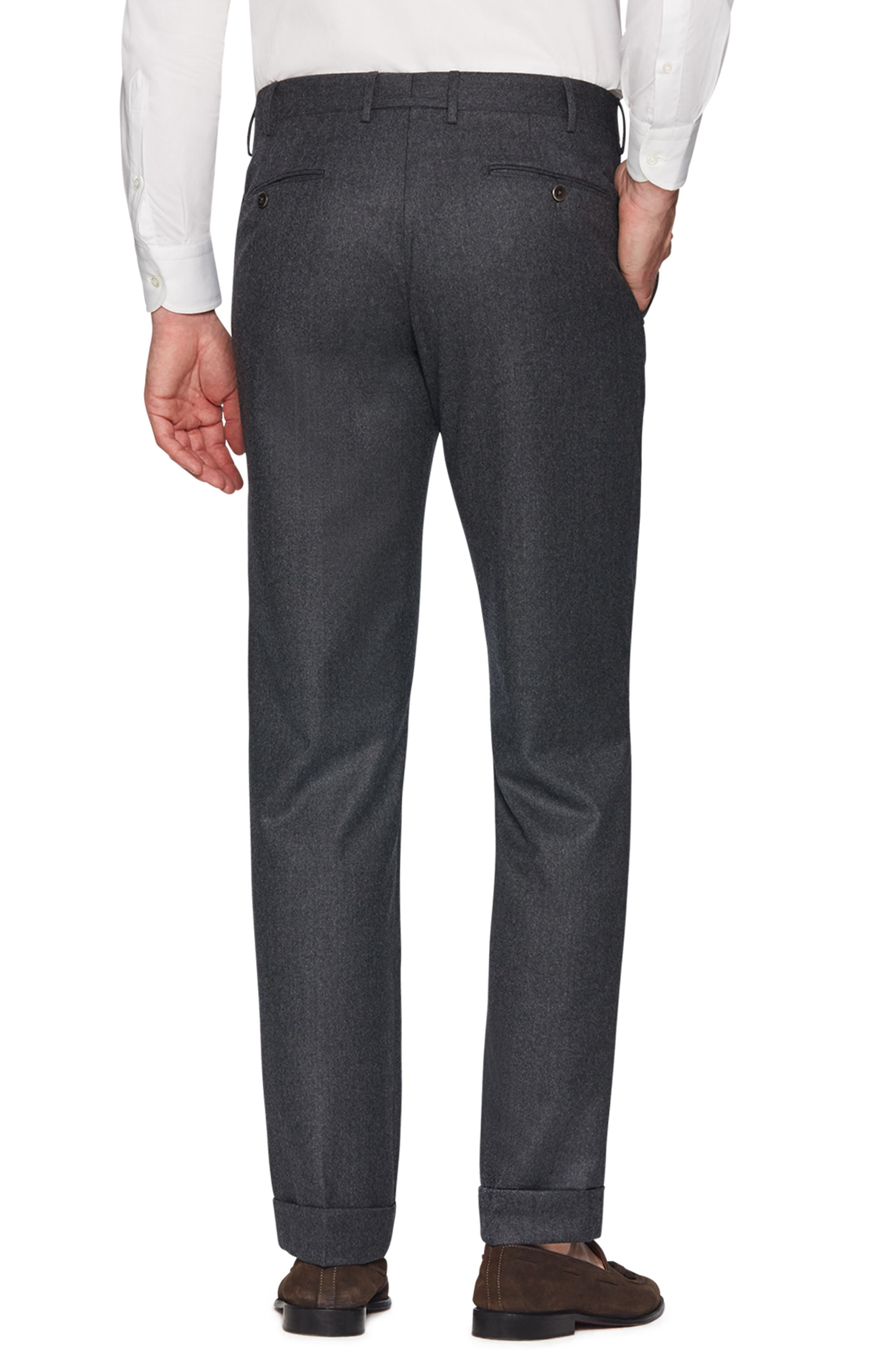 Parker Flat Front Wool Flannel Trousers,                             Alternate thumbnail 2, color,                             CHARCOAL