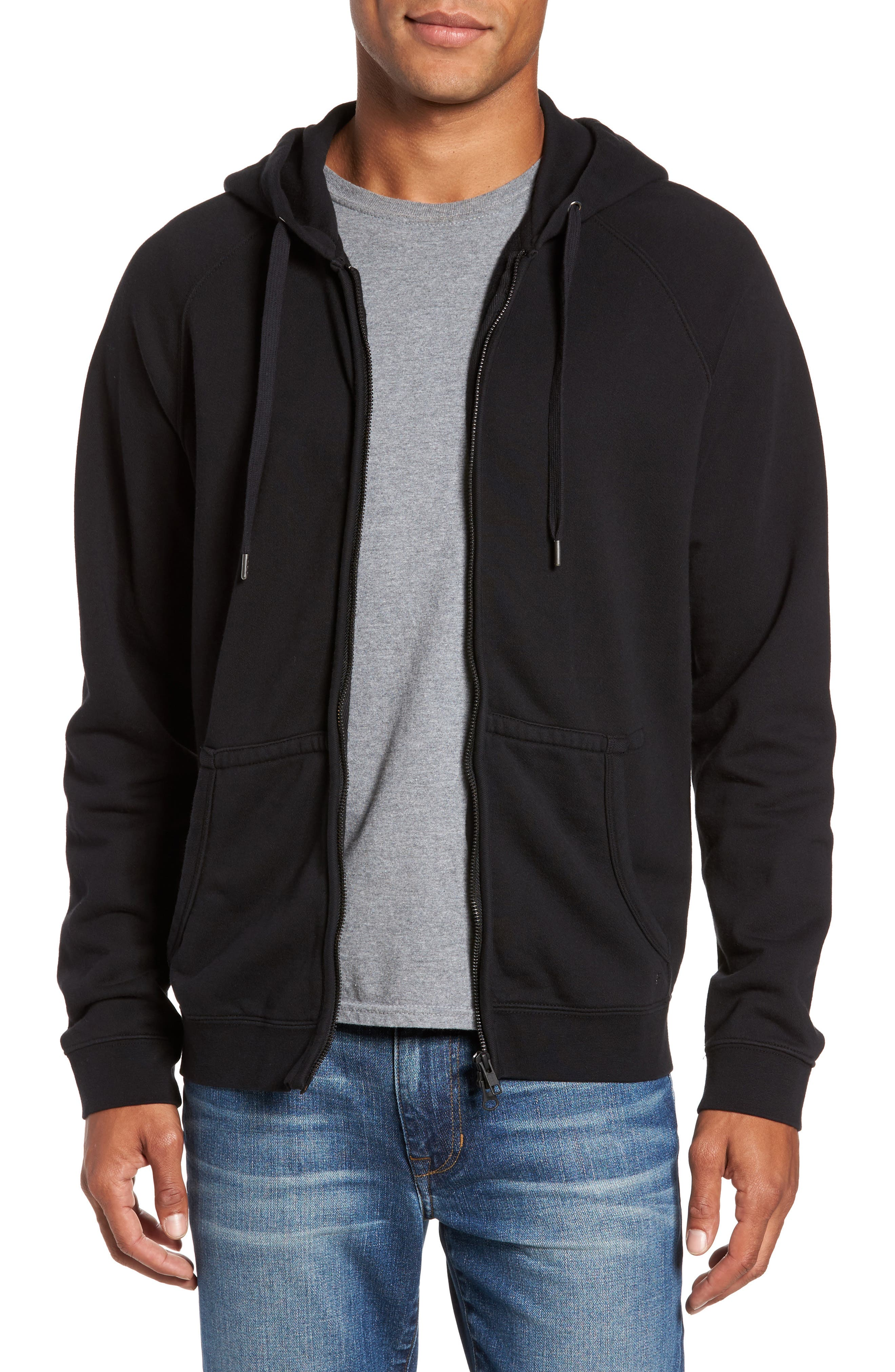 French Terry Zip Hoodie,                             Main thumbnail 1, color,                             001
