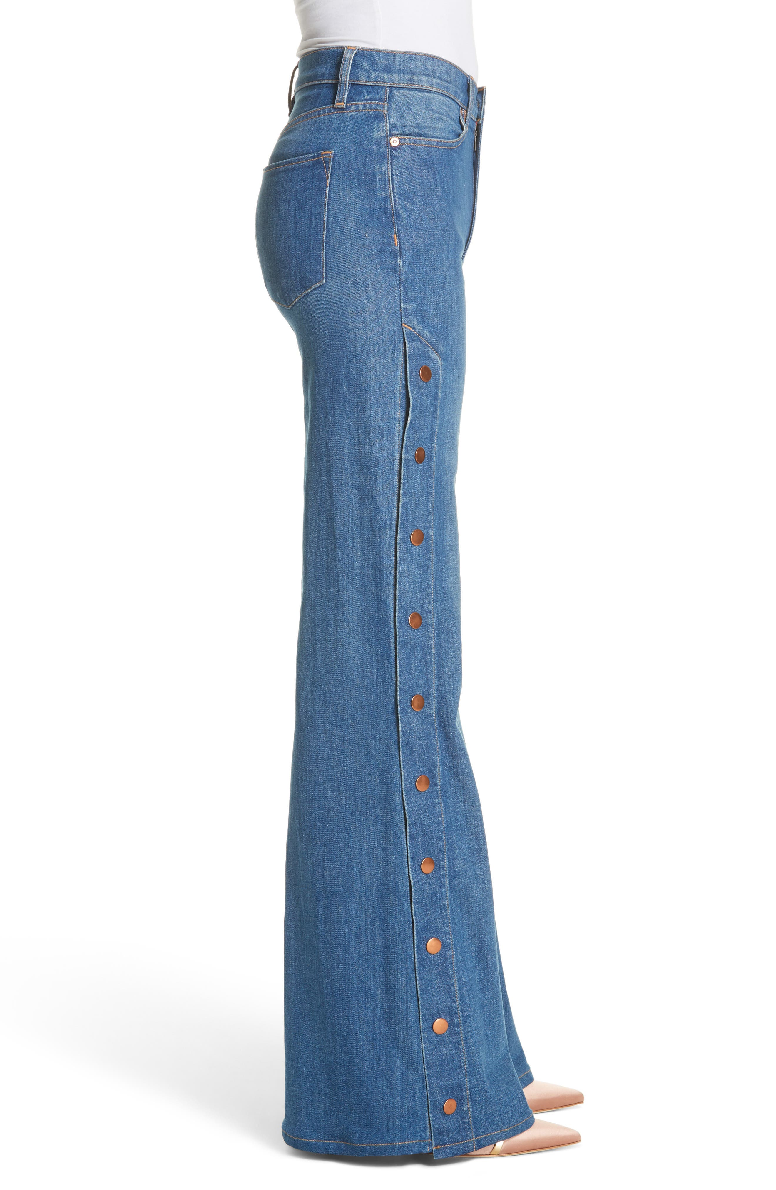 AO.LA Gorgeous Snap Side Flare Leg Jeans,                             Alternate thumbnail 3, color,                             460