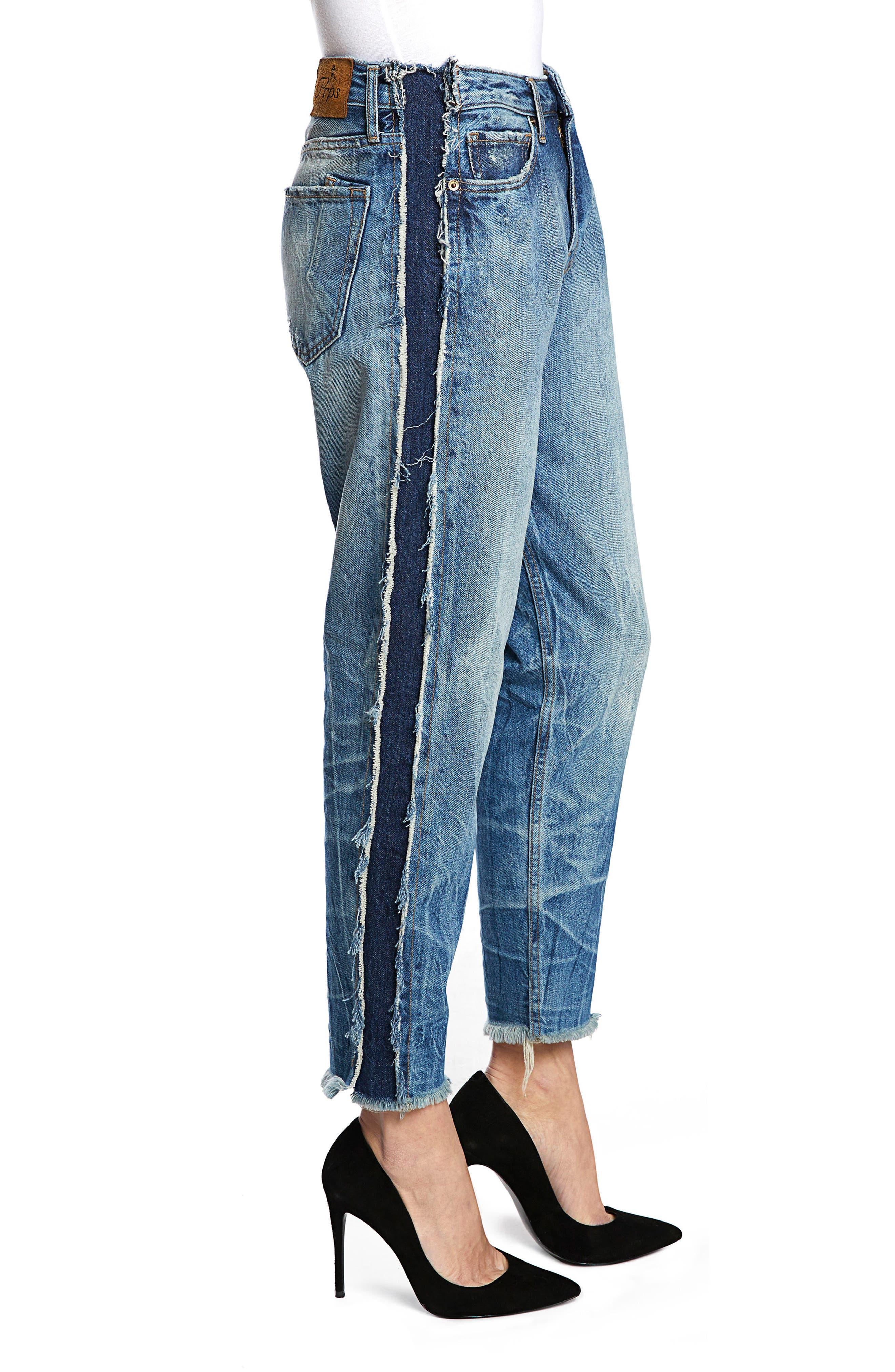 Bel Air High Waist Contrast Seam Boyfriend Jeans,                             Alternate thumbnail 3, color,                             490